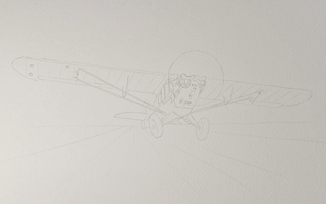 Initial underdrawing.