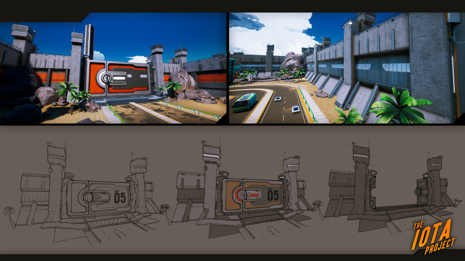 Concepts for the wall and door assets. This was the main entrance to the city. If the town was under attack the door would lock down as to prevent more kaiju from entering.