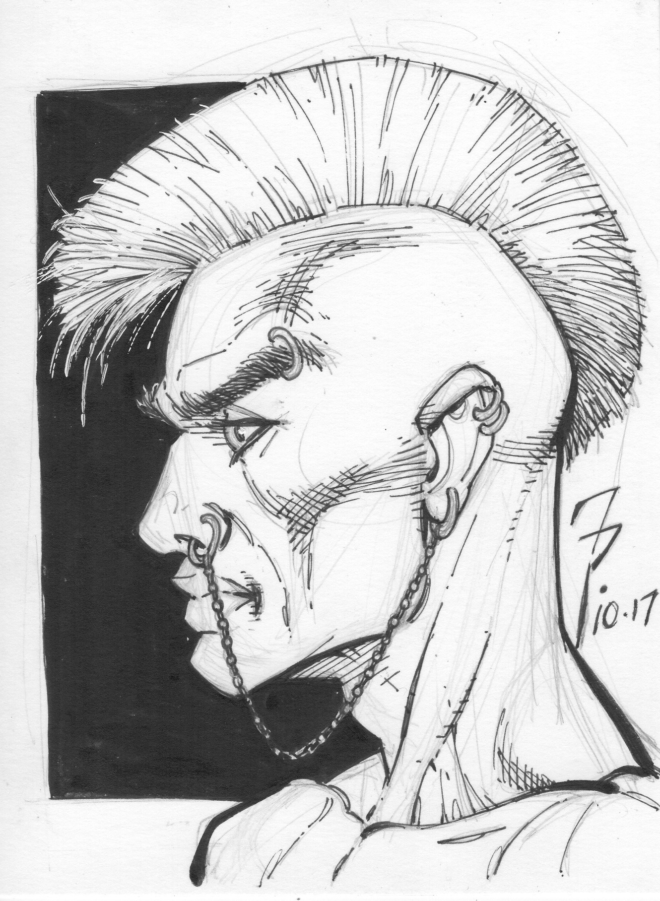 Pen and ink Punk Mohawk.