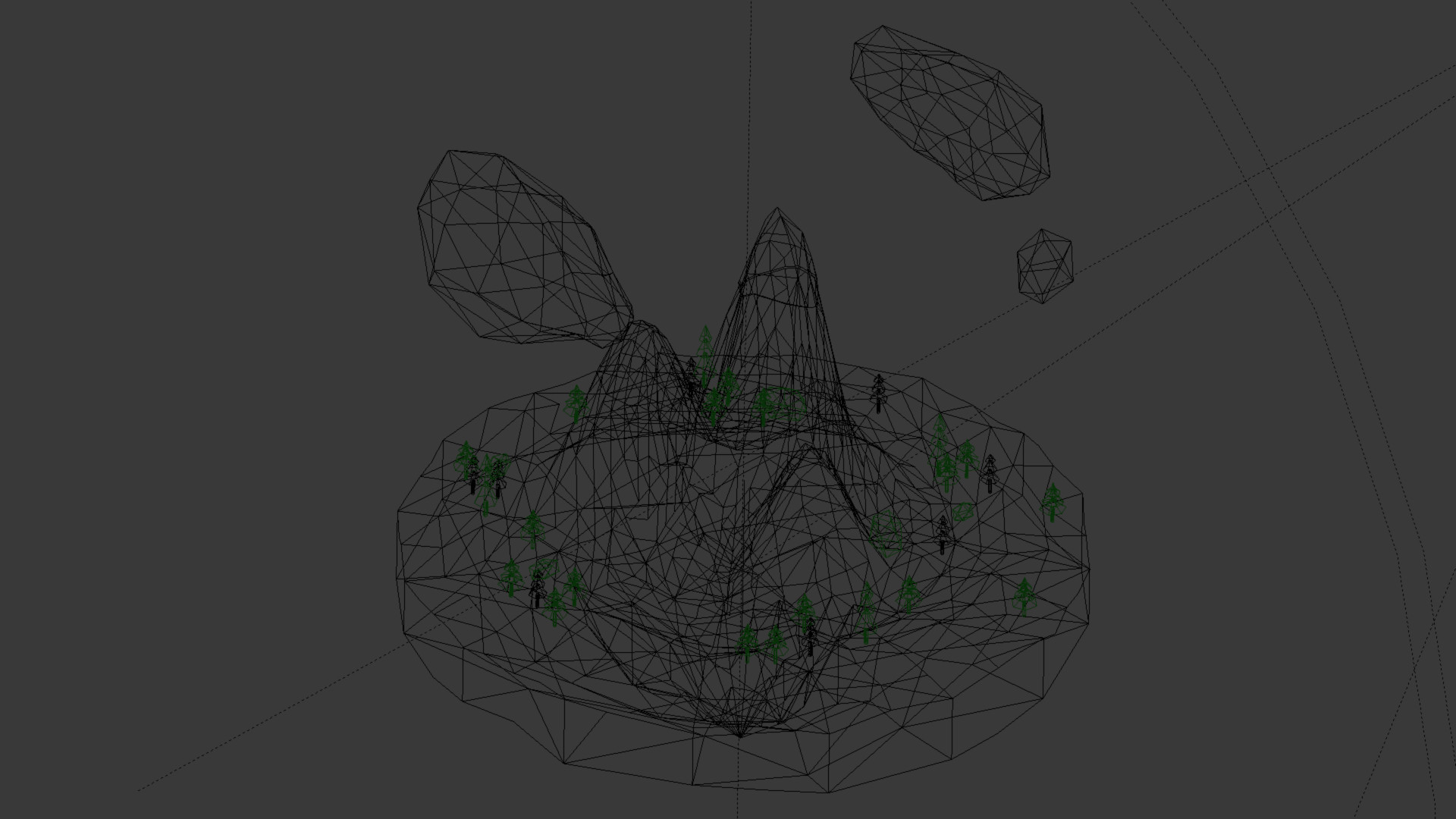 Wireframe view from the Blender 3D-window.