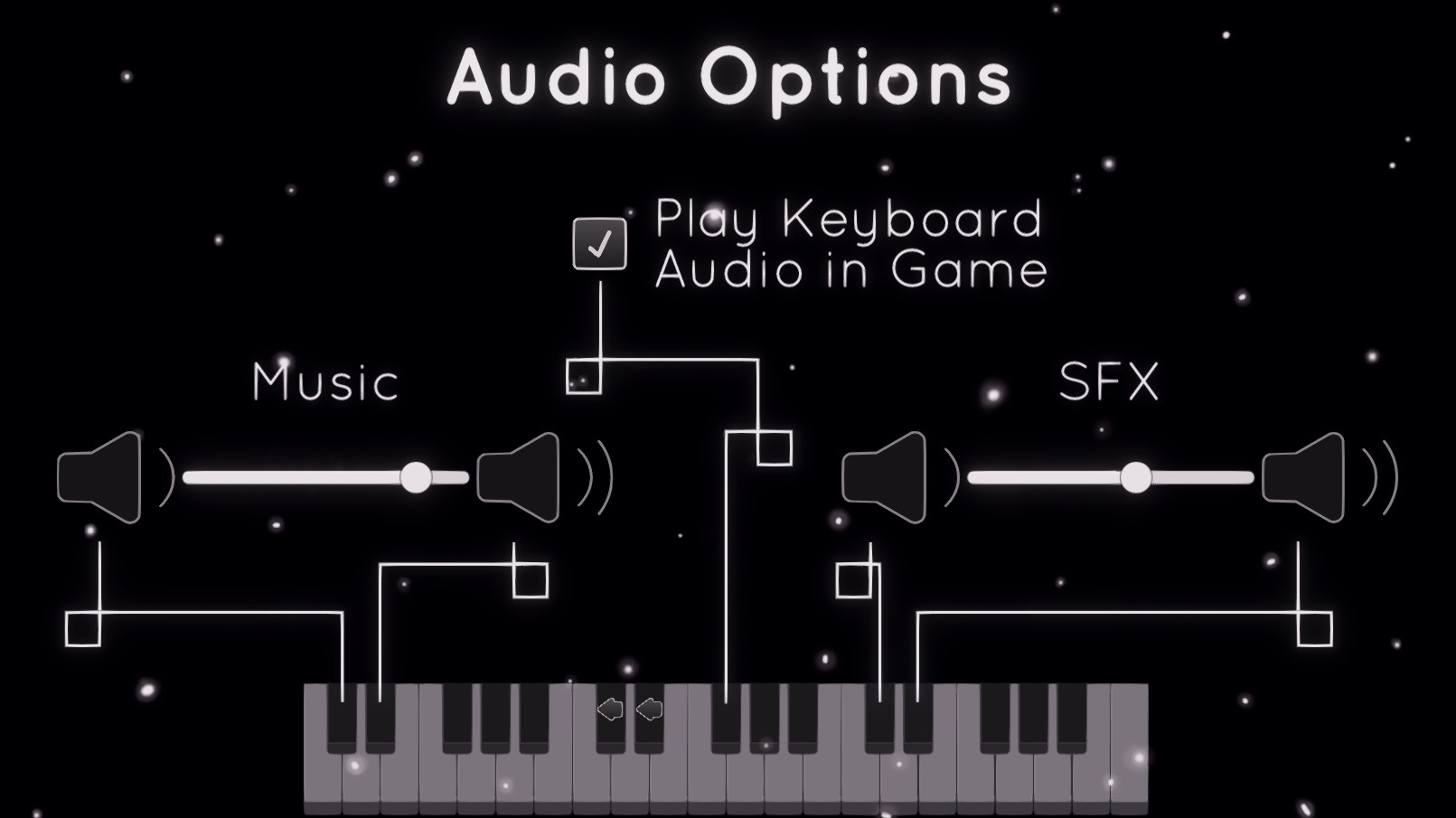 Audio Options. The toggle is mapped to one black key. The sliders have two mapped keys each, one for lowering and the other for raising.