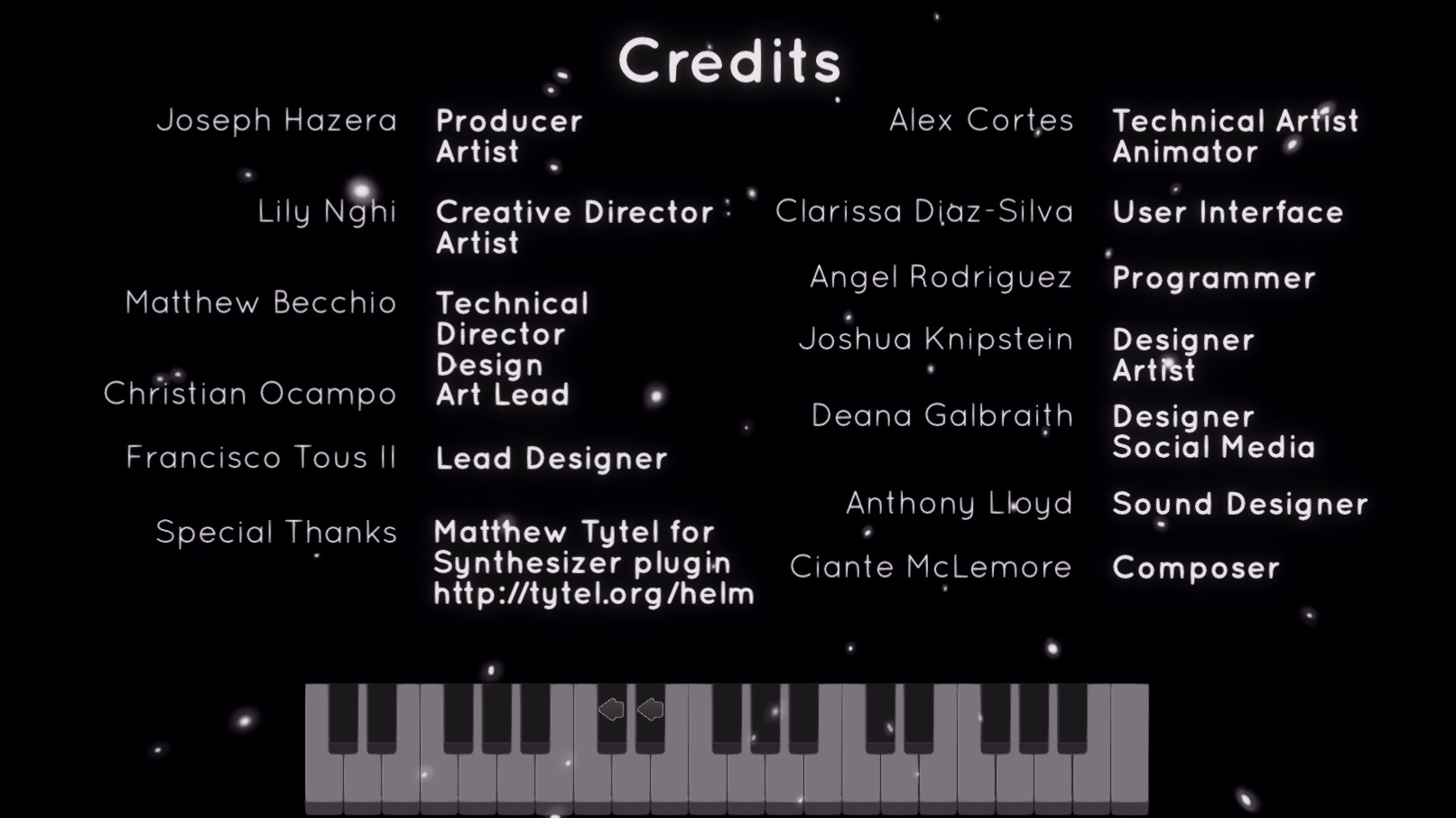 Credits Page. Shows everyone who worked on the game and their roles.