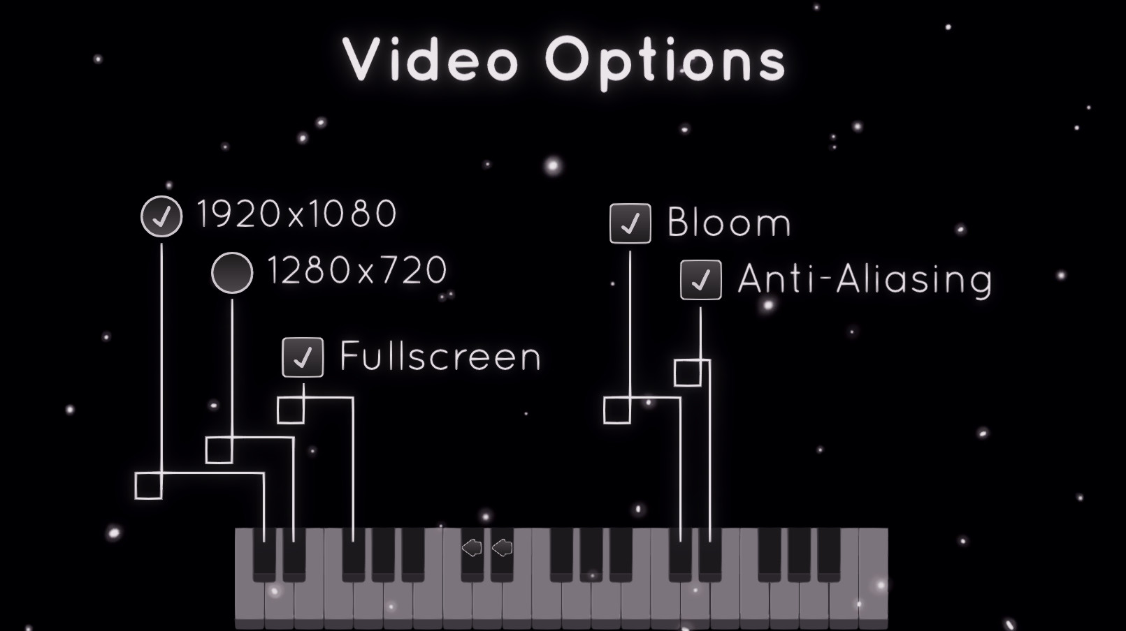 Video Options. A variety of radio buttons for resolutions and toggle buttons for fullscreen, bloom, and anti-aliasing.