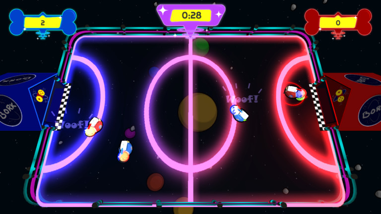 Gameplay. The two Score holders are on the sides above their respective dog house and team. The floating Timer is a rounded purple trapezoid and placed on the top center of the screen.
