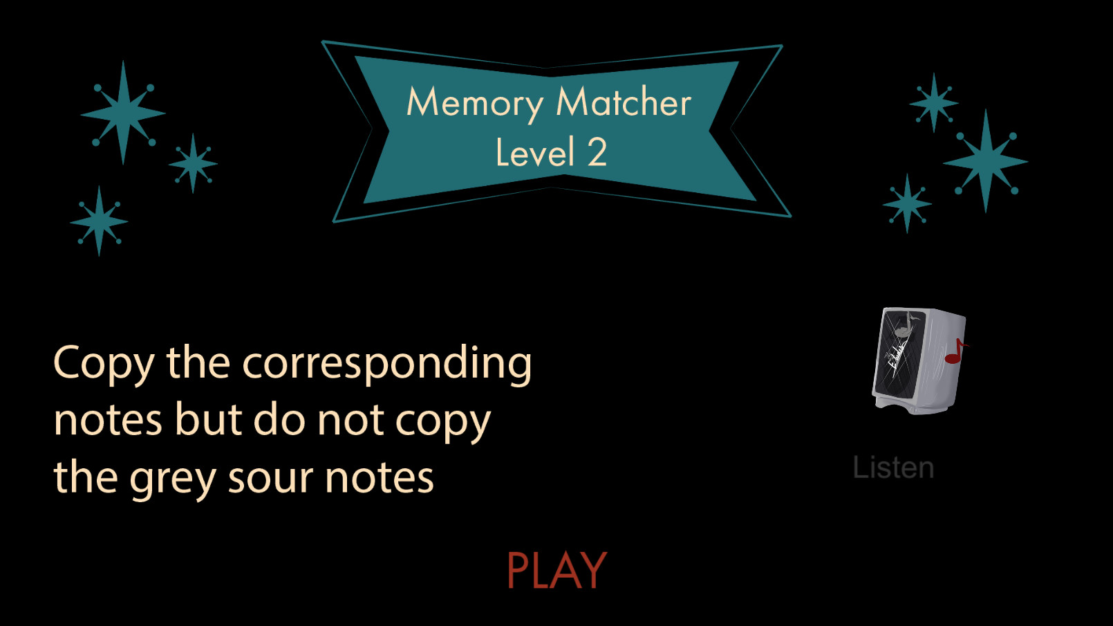 Memory Matcher info screen that explains to the player how to play this type of mini game. It has an example gameplay gif on the side.