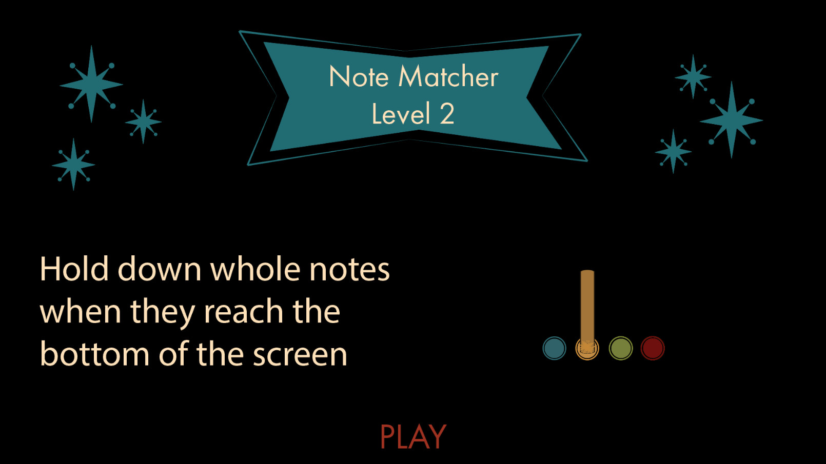 Note Matcher info screen that explains to the player how to play that type of mini game. It also has an example gameplay gif on the side.