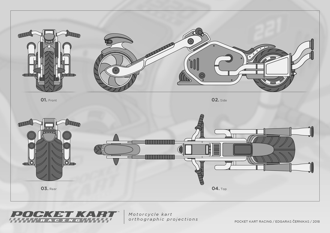 Edgaras cernikas pocket kart motorcycle kart orthographic projections 1100x778