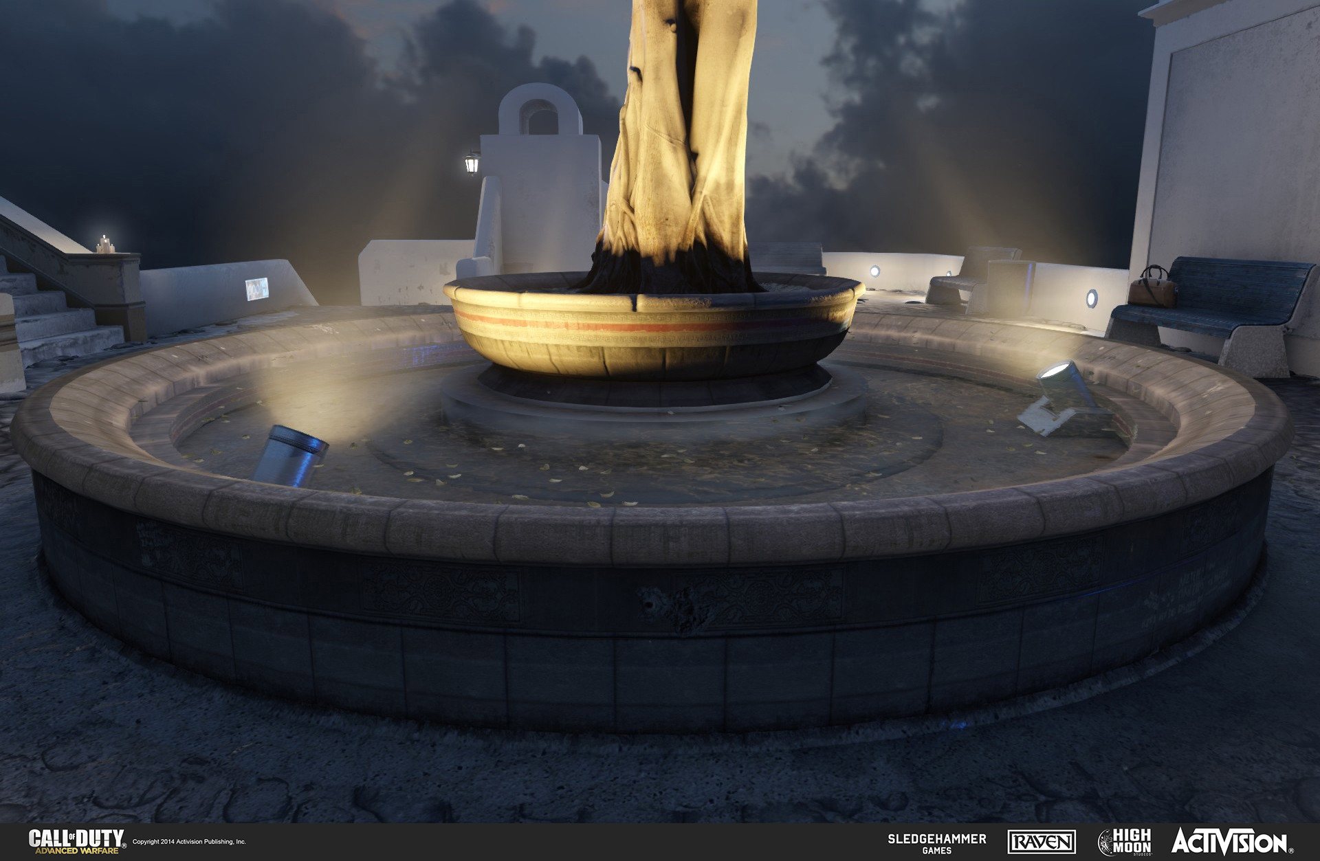 Geo work for fountain and light canisters in the multiplayer map Terrace. The fountain was created in the game engine and the light canisters in 3DSMax.