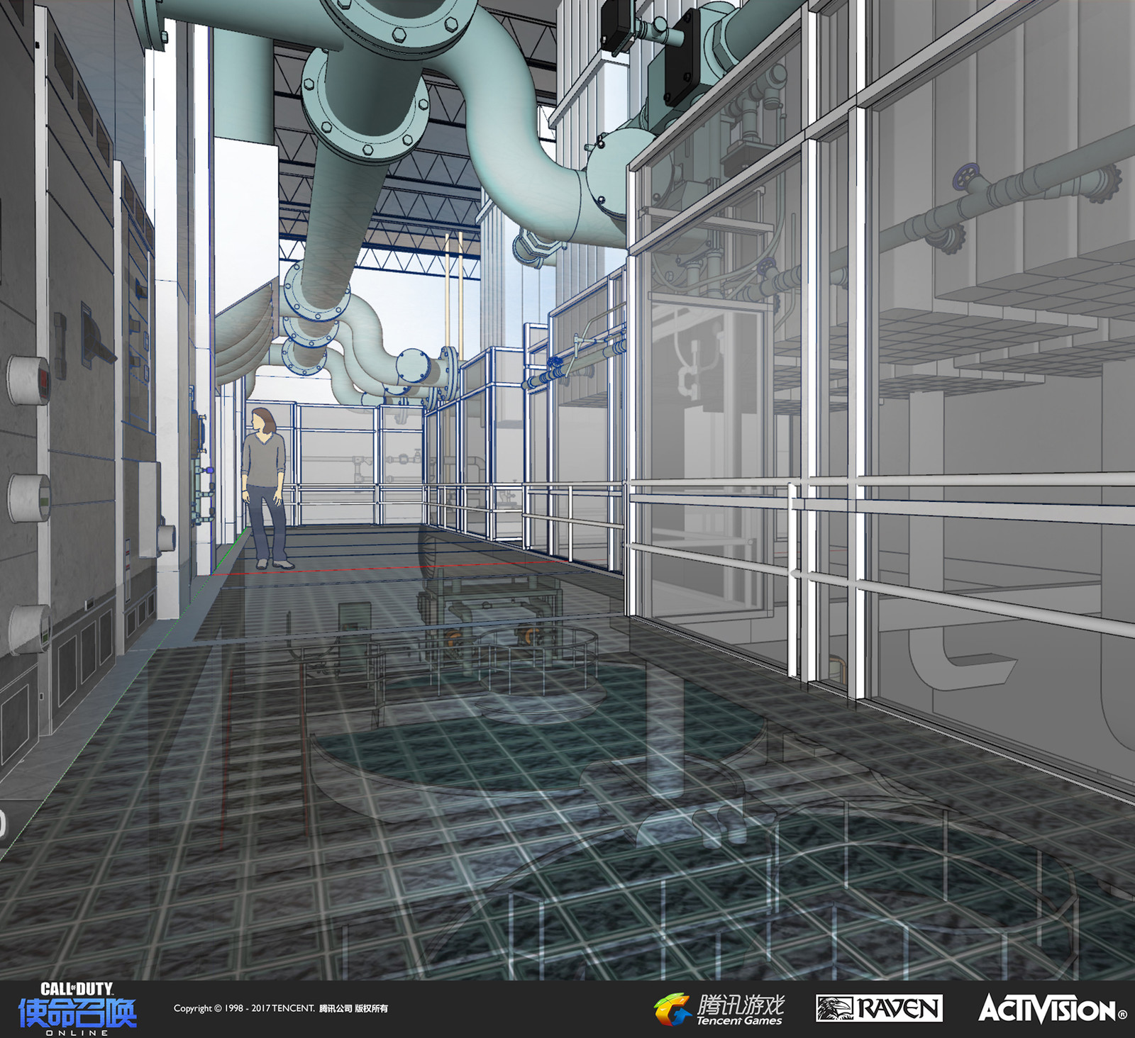 The interior concept art of the water filtration plant done in SketchUp.