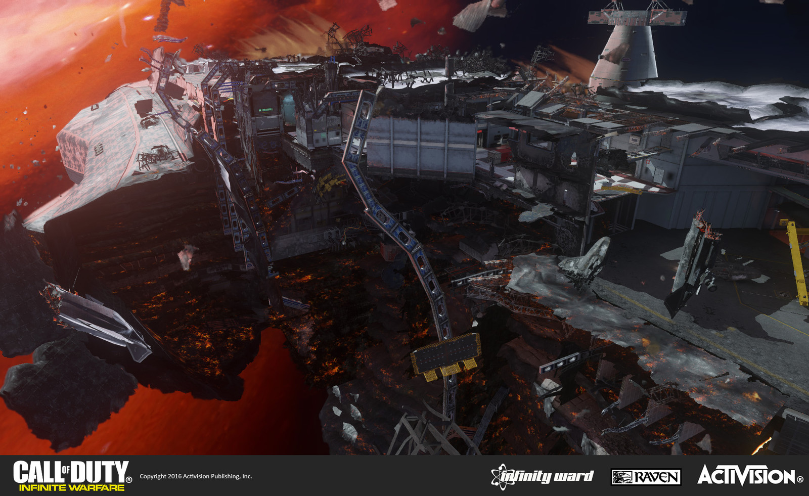 Mayday multiplayer map: This playspace occurs on deck of a heavily damaged ship that is being pulled into a black hole. My responsibility included all geo and material treatment of the damaged decks below the playspace.