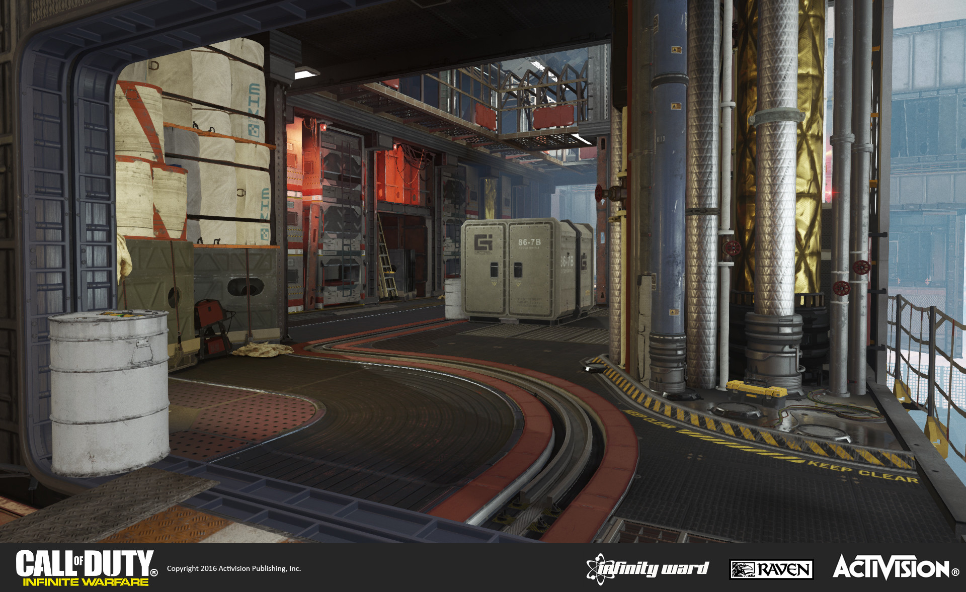 Skydock multiplayer map: Interior section of the SDF ship. Geo construction, set dress, and material treatment.