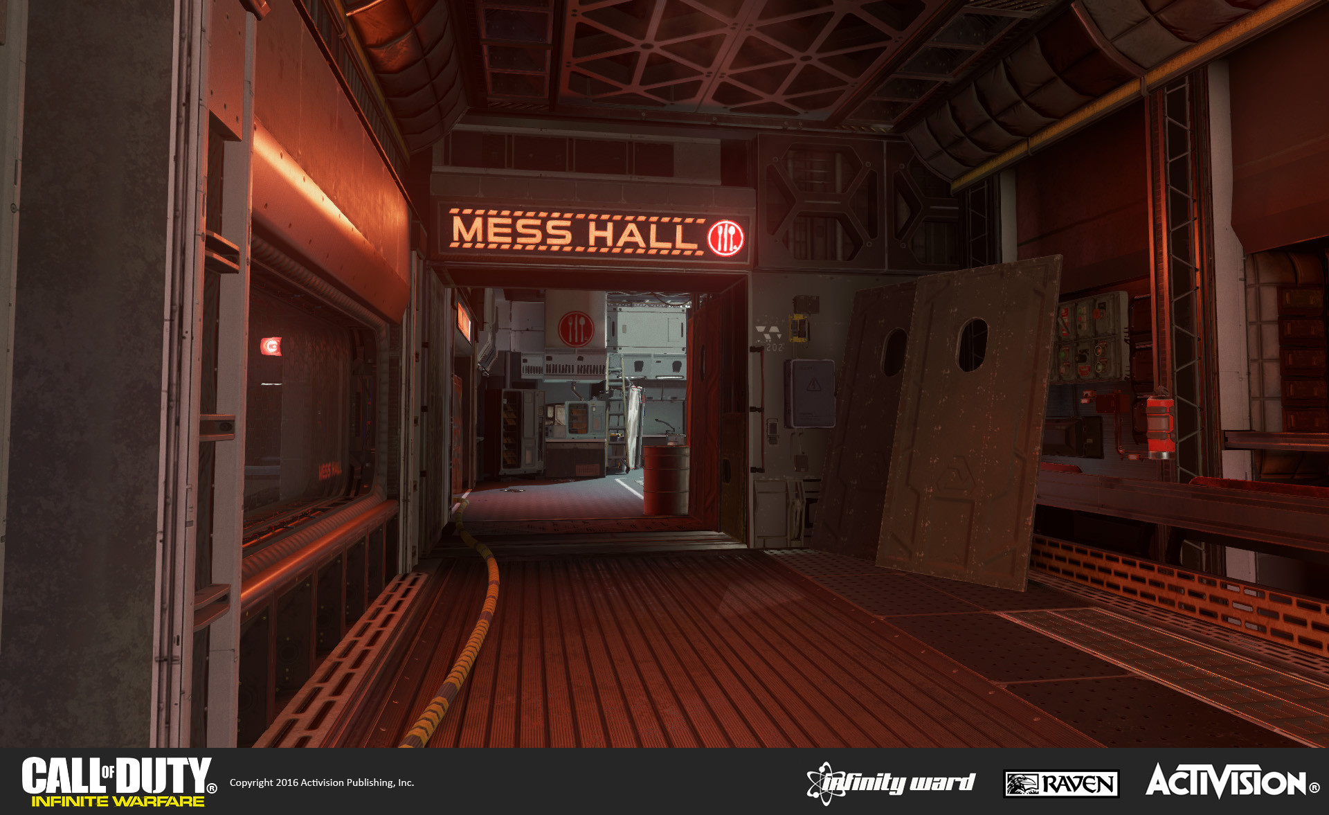 Skydock multiplayer map: Interior section of the SDF ship. Signage, geo construction, set dress, and material treatment. Also re-use and modification of the mess hall geo from Single Player (on the other side of the window).