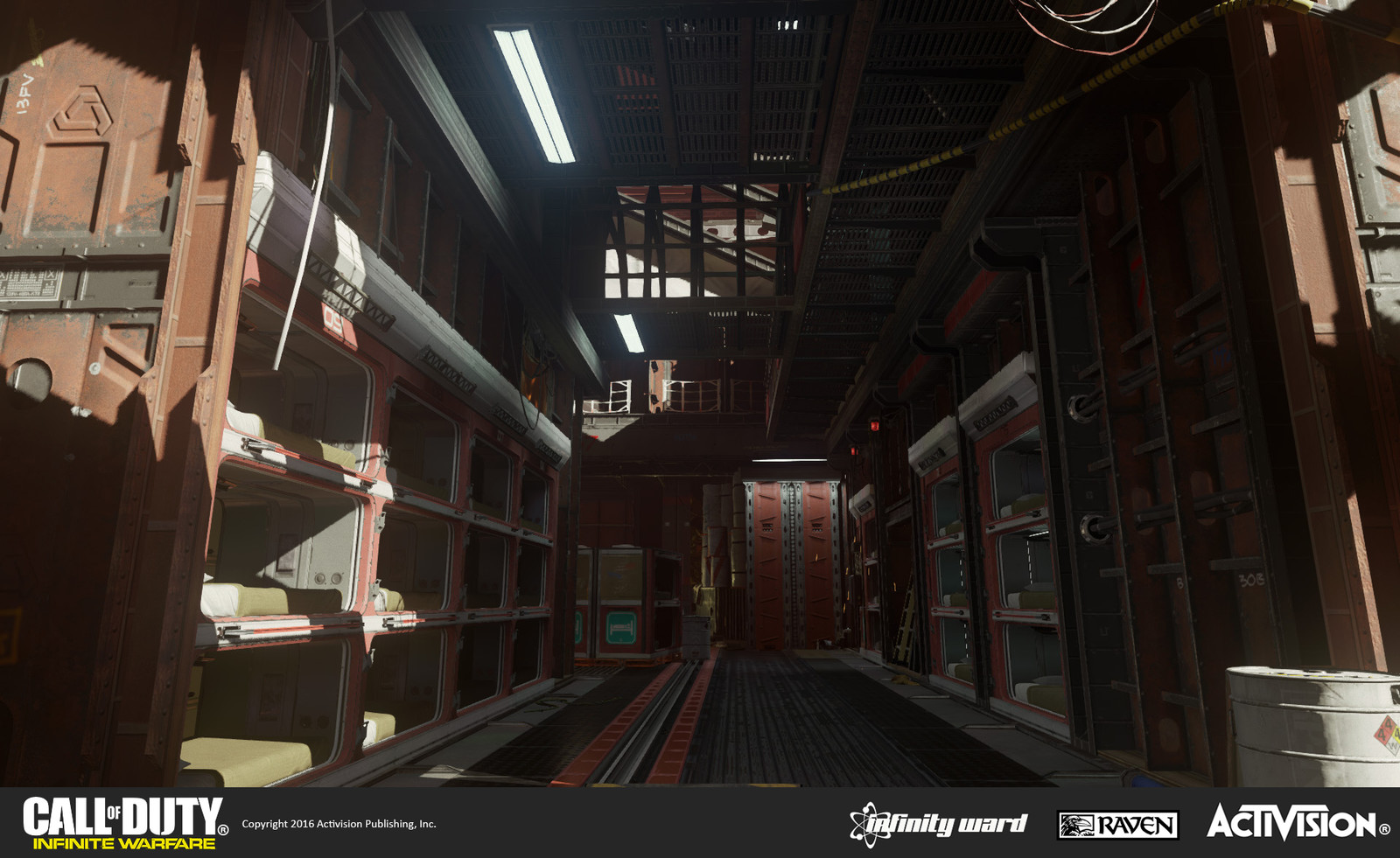 Skydock multiplayer map: Interior of the SDF ship with berthing compartments. Responsible for geo construction, material treatment, and set dress. Berthing compartment modules re-used from single-player.