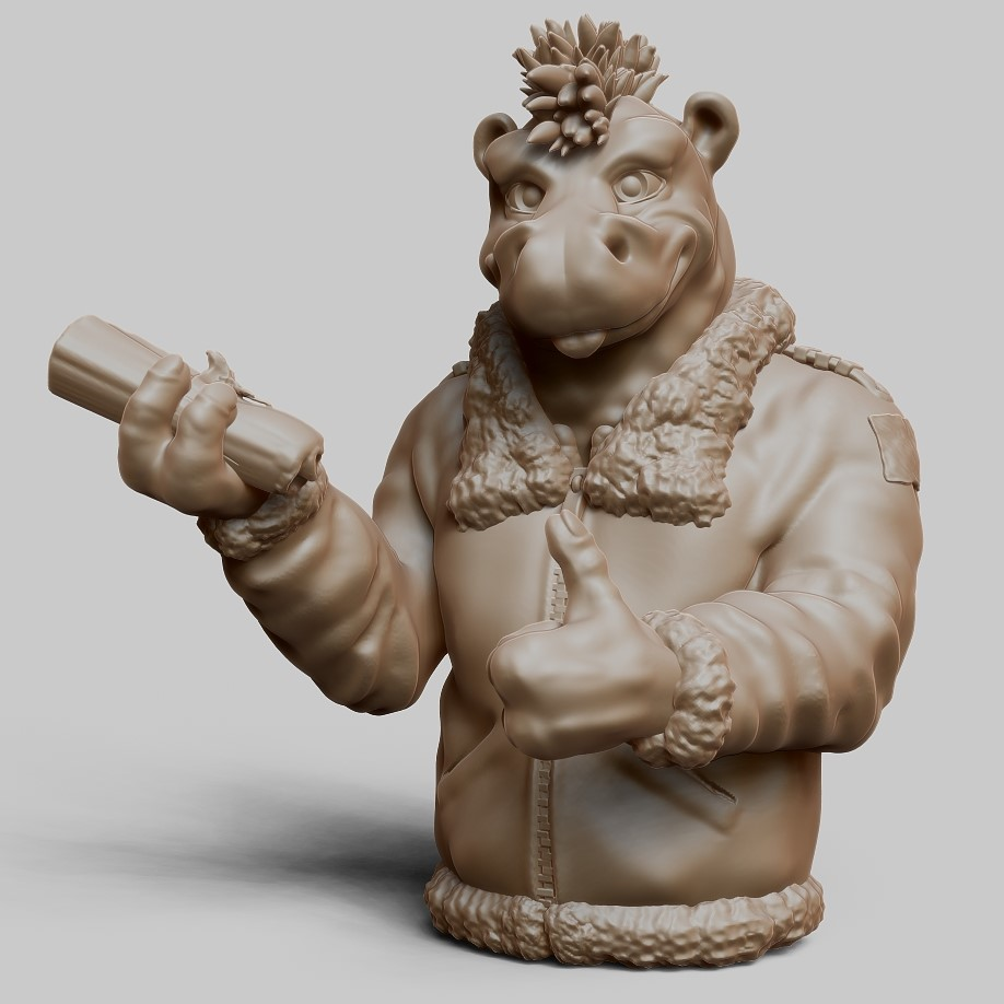Scout windsor hippo clay render