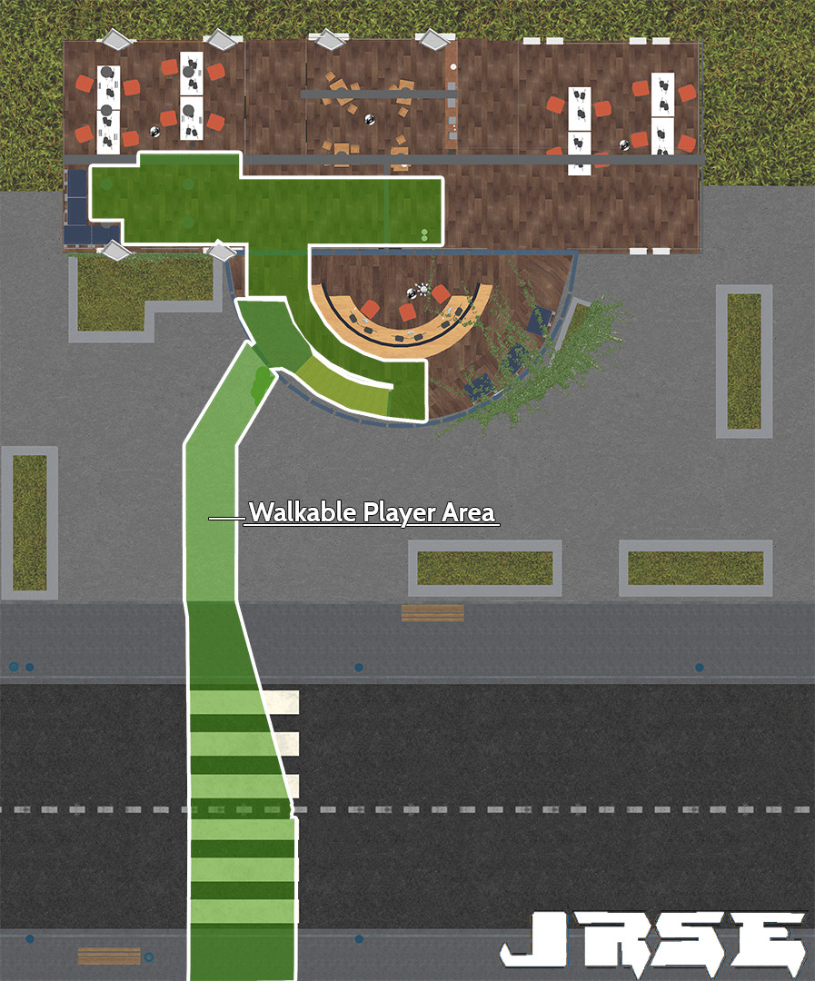 Top down view with hightlighted area of the player walkable space