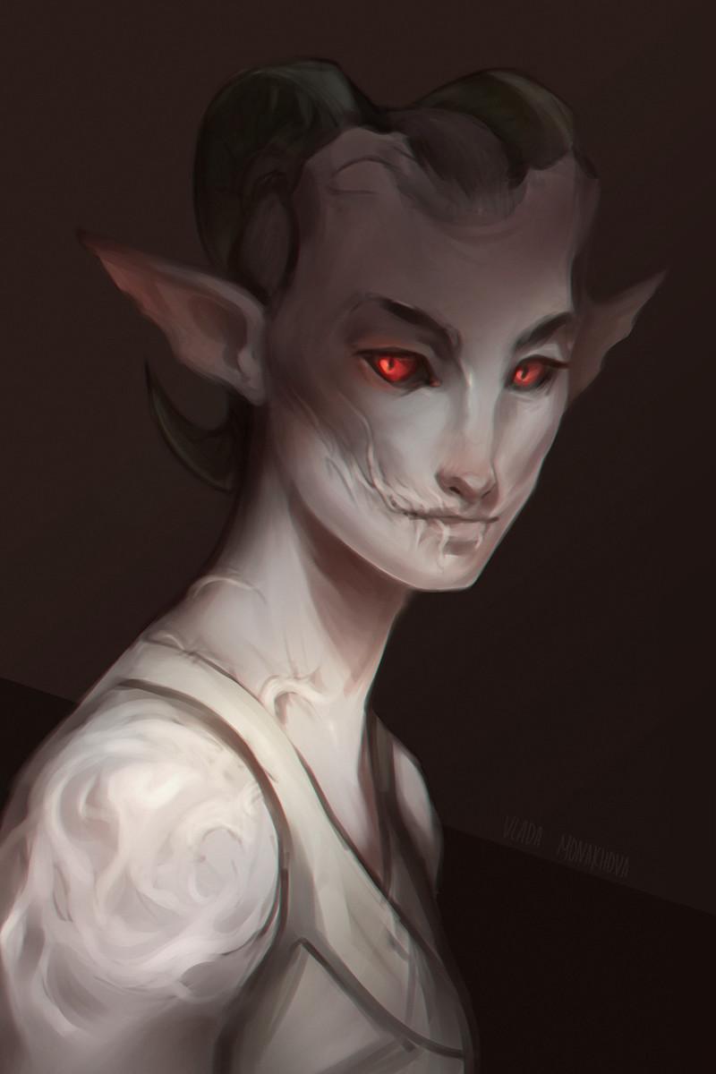 Tiefling character portrait.