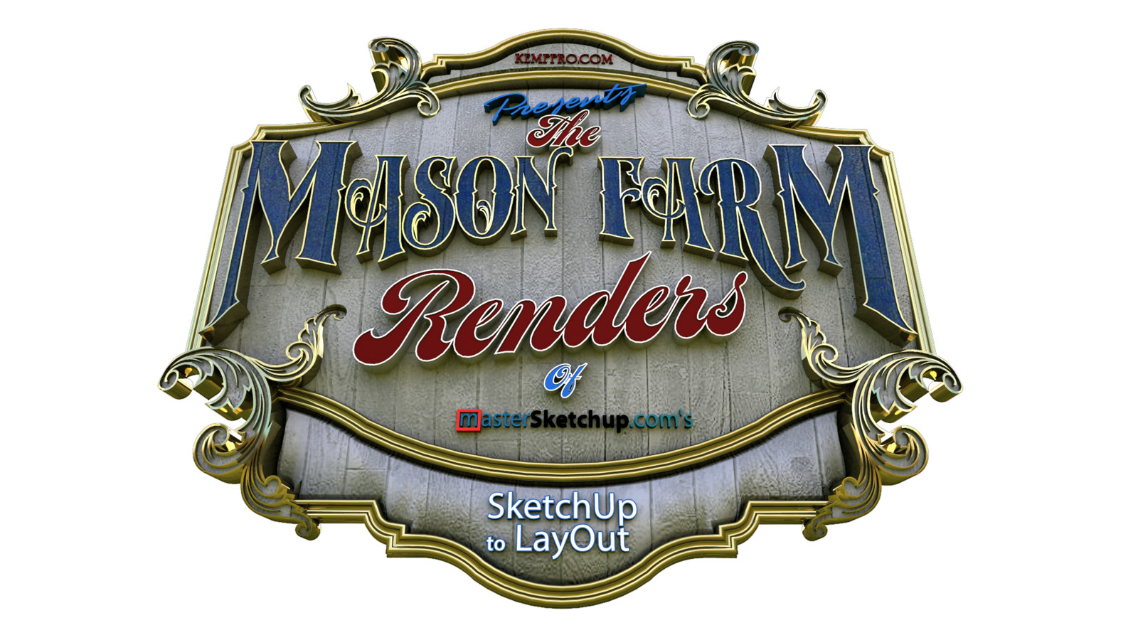 """35 Logo Test 08 Wide Angle - iP  """"SketchUp to LayOut"""" The Mason Farm Renders for the launching of the new book """"SketchUp to LayOut"""" http://bit.ly/2j0d0Wh by MasterSketchup."""