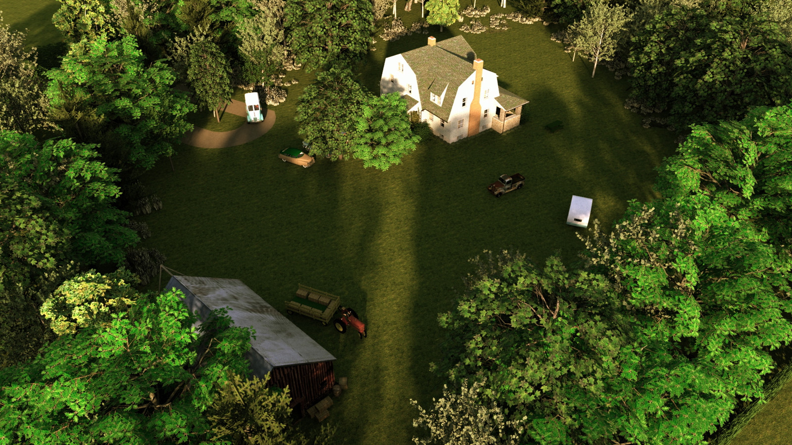 """""""Mason Farm - Morning Has Broken"""" Summer Sun Collection   04 Masonfarm HD1080 21 - iP Kodac   """"SketchUp to LayOut"""" The Mason Farm Renders for the launching of the new book """"SketchUp to LayOut"""" http://bit.ly/2j0d0Wh by MasterSketchup."""