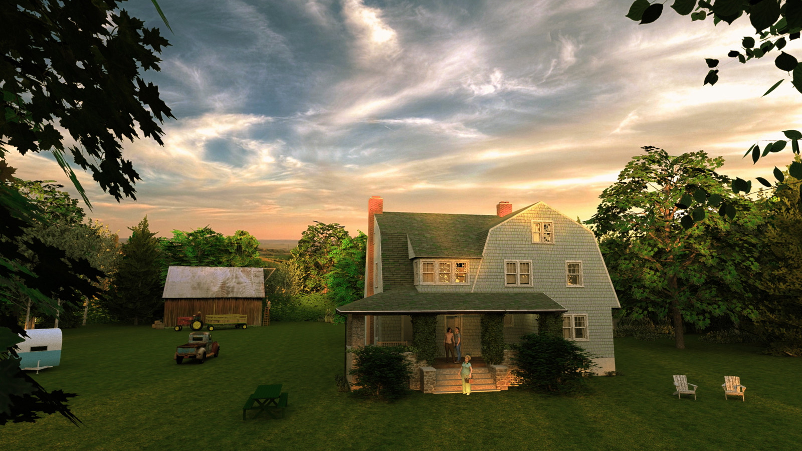 """""""Mason Farm - Afternoon Delight"""" Summer Sun Collection  07 Masonfarm HD1080 10 - iP Kodac  """"SketchUp to LayOut"""" The Mason Farm Renders for the launching of the new book """"SketchUp to LayOut"""" http://bit.ly/2j0d0Wh by MasterSketchup."""