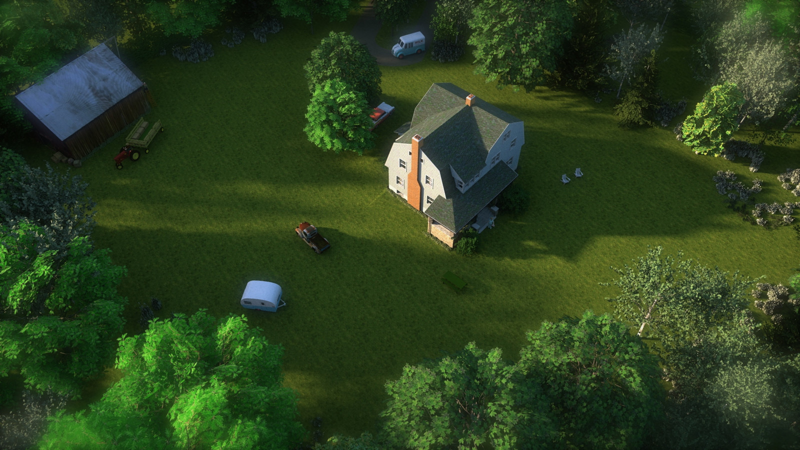 """""""Mason Farm - Heart's Haven"""" Summer Sun Collection   05 Masonfarm HD1080 20 - iP Kodac  """"SketchUp to LayOut"""" The Mason Farm Renders for the launching of the new book """"SketchUp to LayOut"""" http://bit.ly/2j0d0Wh by MasterSketchup."""