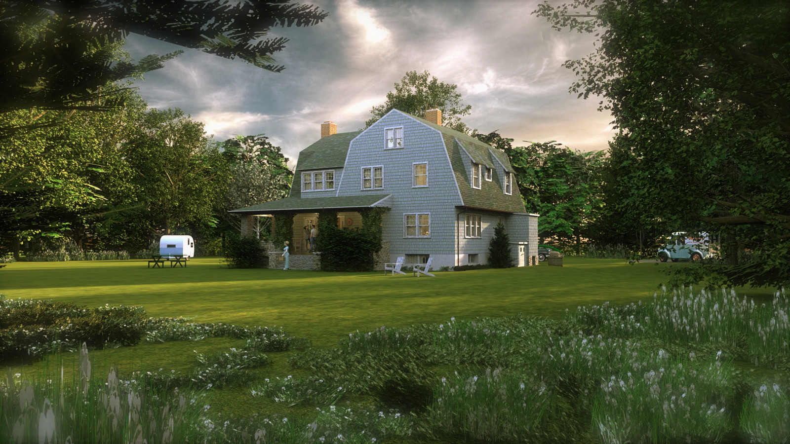 """""""Mason Farm - Homestead's Heart (Day)"""" E Summer Sun Collection  14 Masonfarm HD1080 15e - iP Kodac   """"SketchUp to LayOut"""" The Mason Farm Renders for the launching of the new book """"SketchUp to LayOut"""" http://bit.ly/2j0d0Wh by MasterSketchup."""