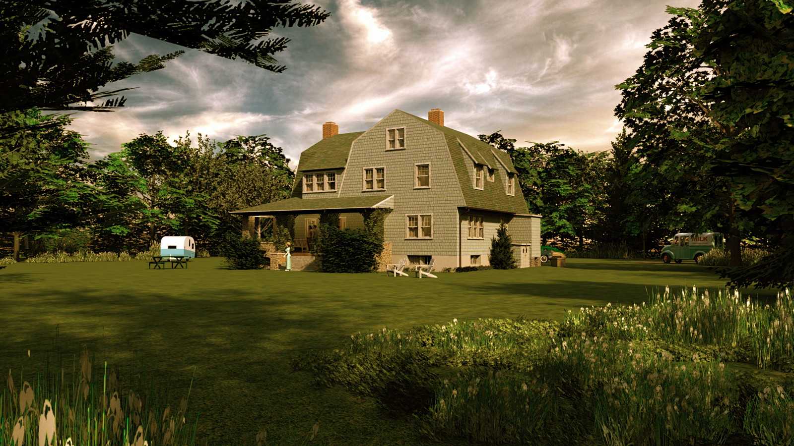 """""""Mason Farm - Homestead's Heart (Day)"""" Summer Sun Collection   15 Masonfarm HD1080 15d - iP Kodac  """"SketchUp to LayOut"""" The Mason Farm Renders for the launching of the new book """"SketchUp to LayOut"""" http://bit.ly/2j0d0Wh by MasterSketchup."""