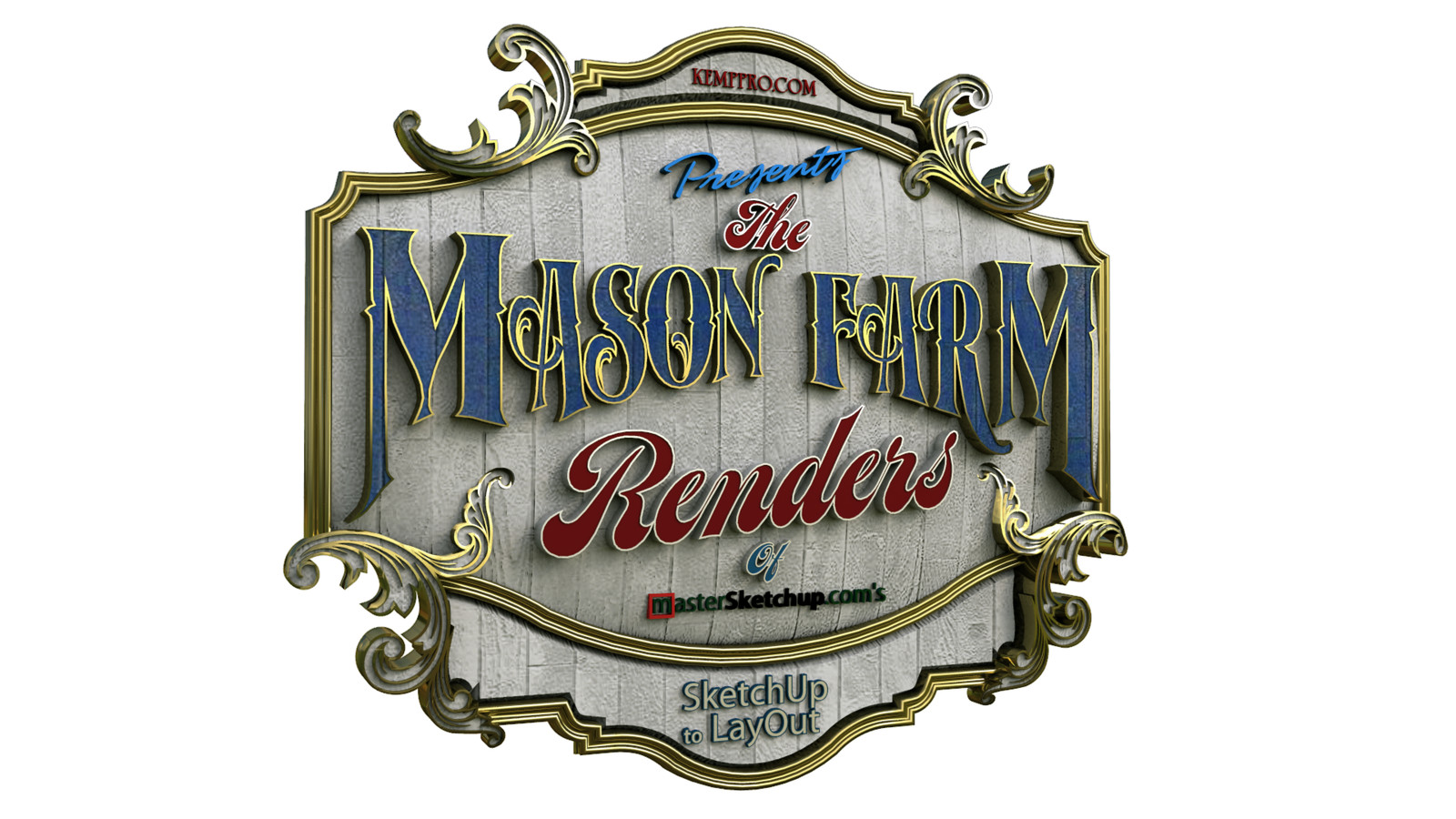 """37 Logo Test 11 Angled - iP  """"SketchUp to LayOut"""" The Mason Farm Renders for the launching of the new book """"SketchUp to LayOut"""" http://bit.ly/2j0d0Wh by MasterSketchup."""