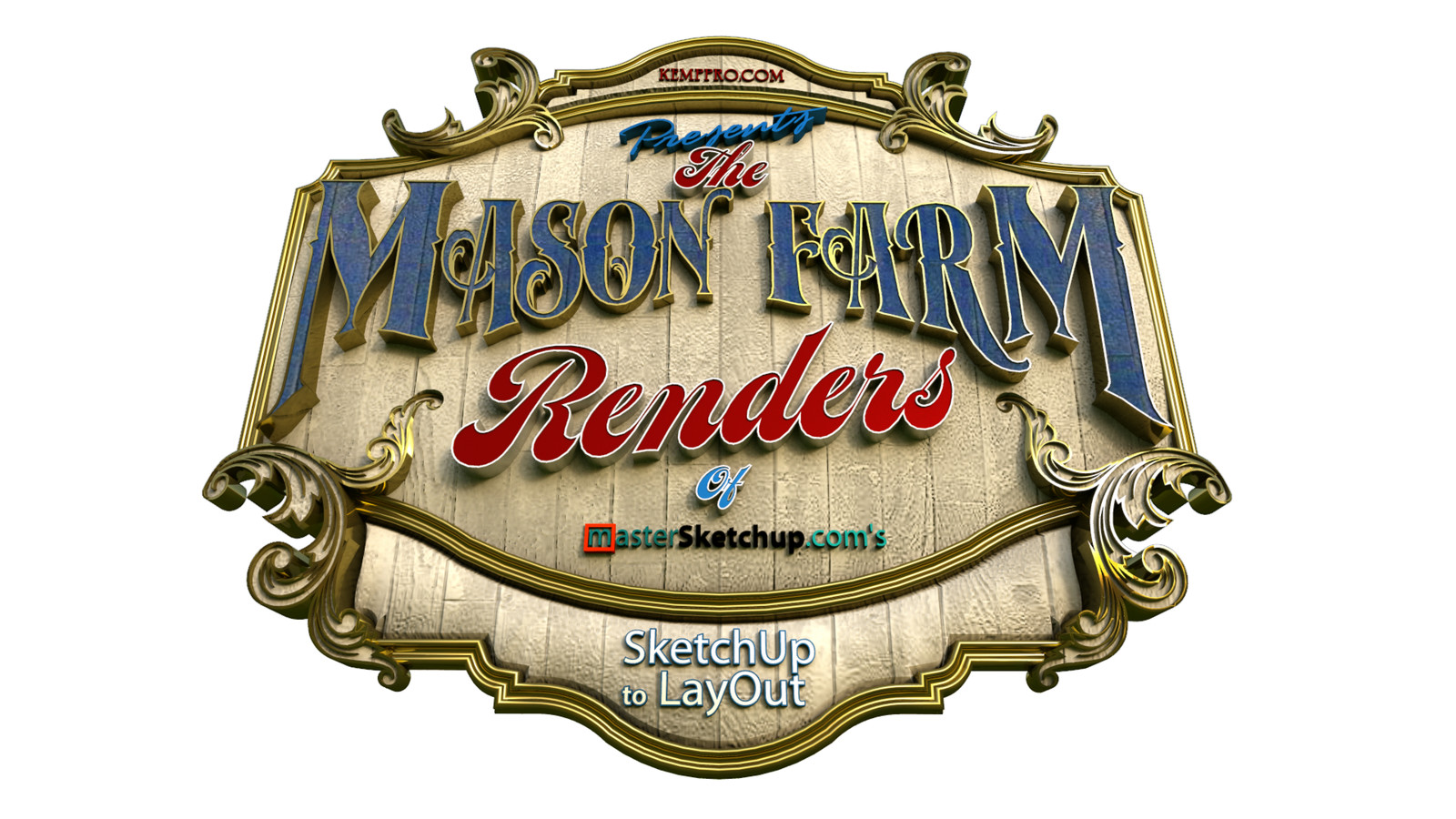 """36 Logo Test 01 Wide Angle - iP  """"SketchUp to LayOut"""" The Mason Farm Renders for the launching of the new book """"SketchUp to LayOut"""" http://bit.ly/2j0d0Wh by MasterSketchup."""