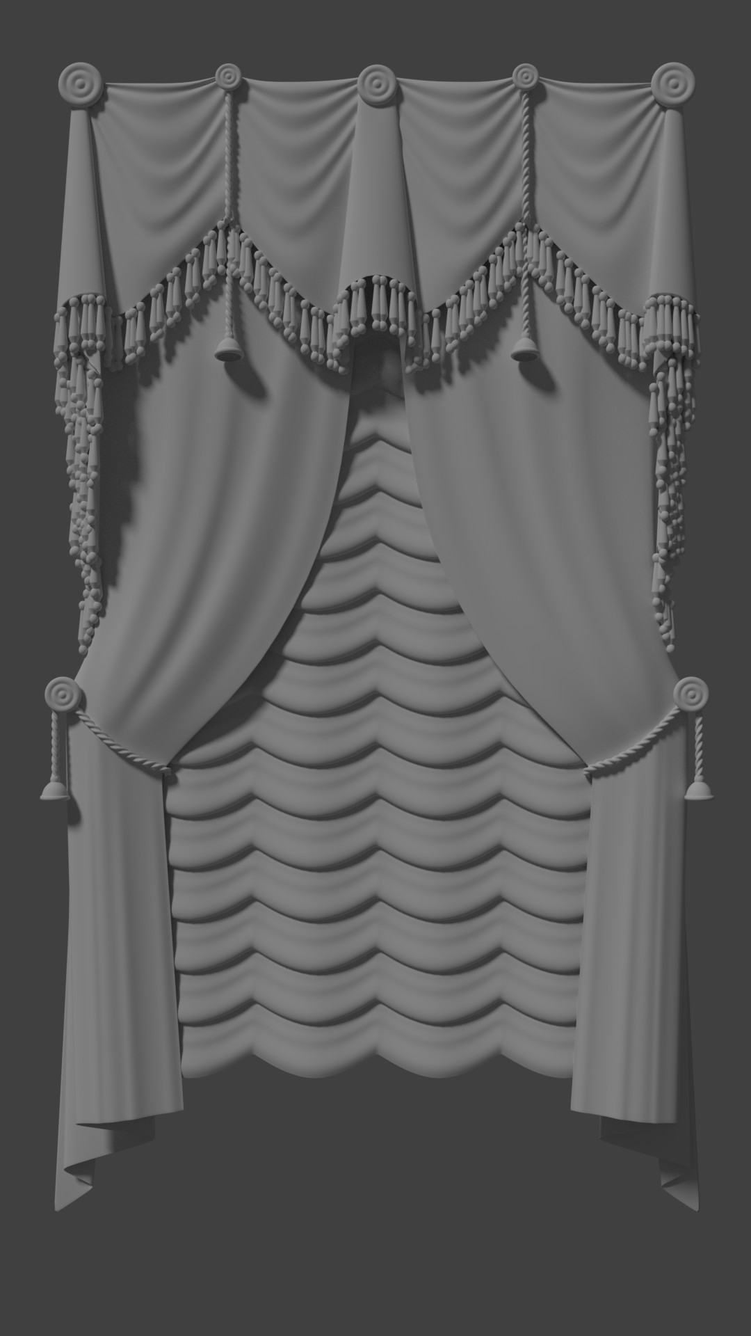 These curtains were the catalyst that took me from making a Christmas tree scene to a full on living room. They were kind of a doodle I ended up needing a scene for since I liked them so much.