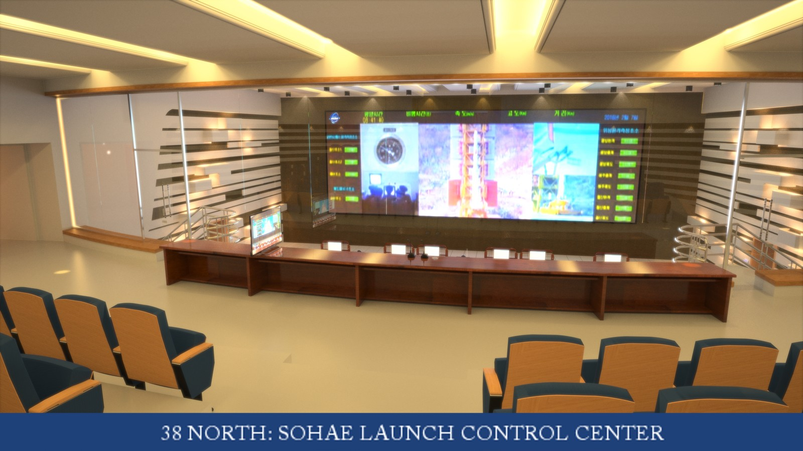 Sohae Satellite Launching Station's Launch for 38 North Control Room 04 Model by Nathan J Hunt/Edited & Rendered by Duane Kemp Project for 38North  Read the story here: http://www.kemppro.com/KP-3D-Sohae-Launch-Control-Room-WIRED-Magazine.html
