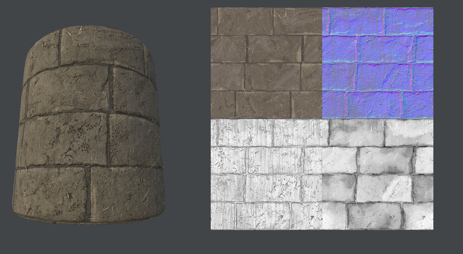 Mud bricks texture created in substance designer