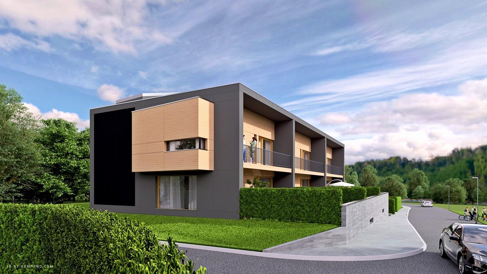 Architect - Braa Geneva  03 Exterior SW Corner close 03 B  KP webpage of project: http://www.kemppro.com/KP_3D_communication_3_Villas_Veyrier.html