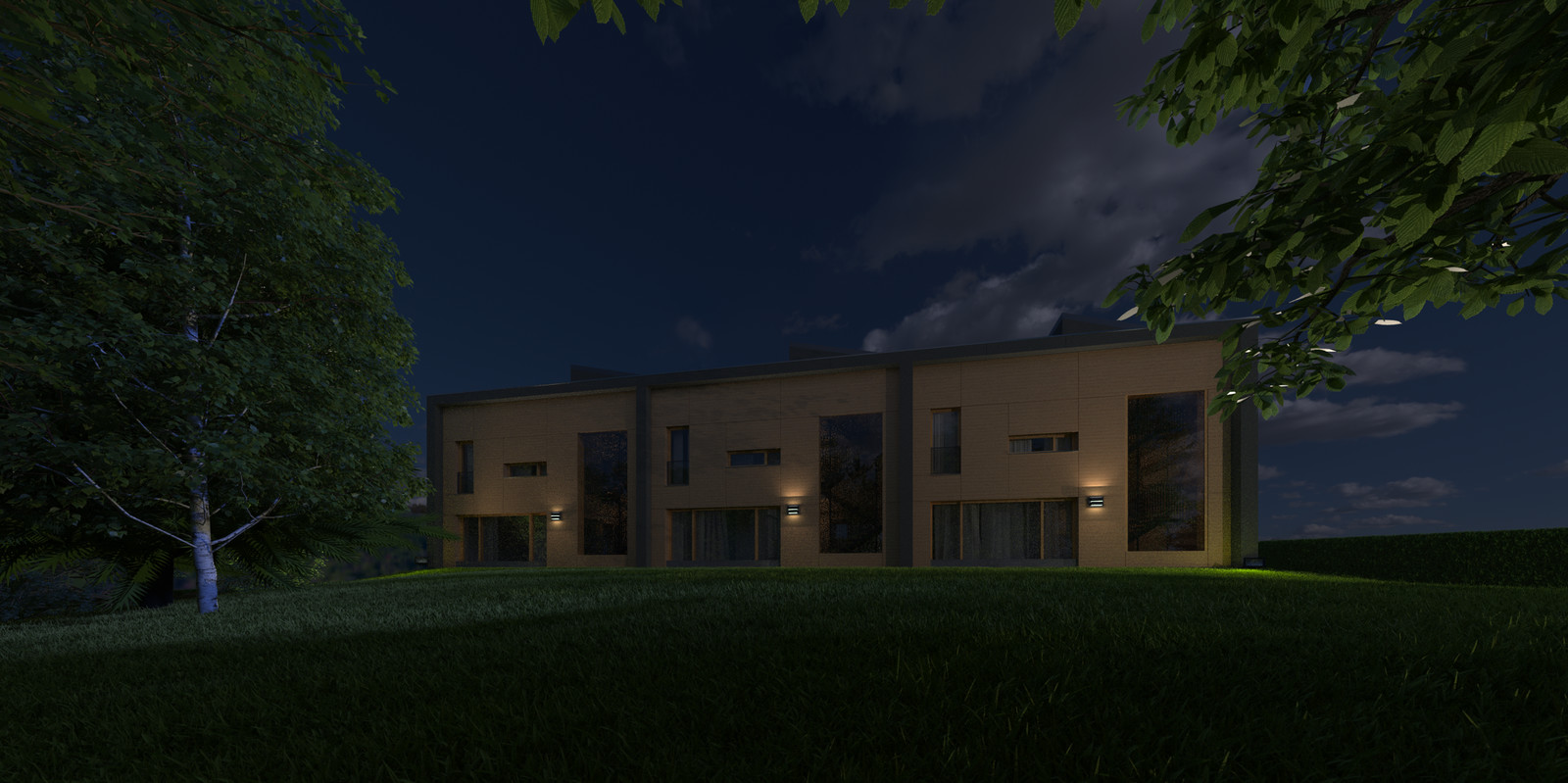 06 Exterior N ground New 03B Night A  KP webpage of project: http://www.kemppro.com/KP_3D_communication_3_Villas_Veyrier.html