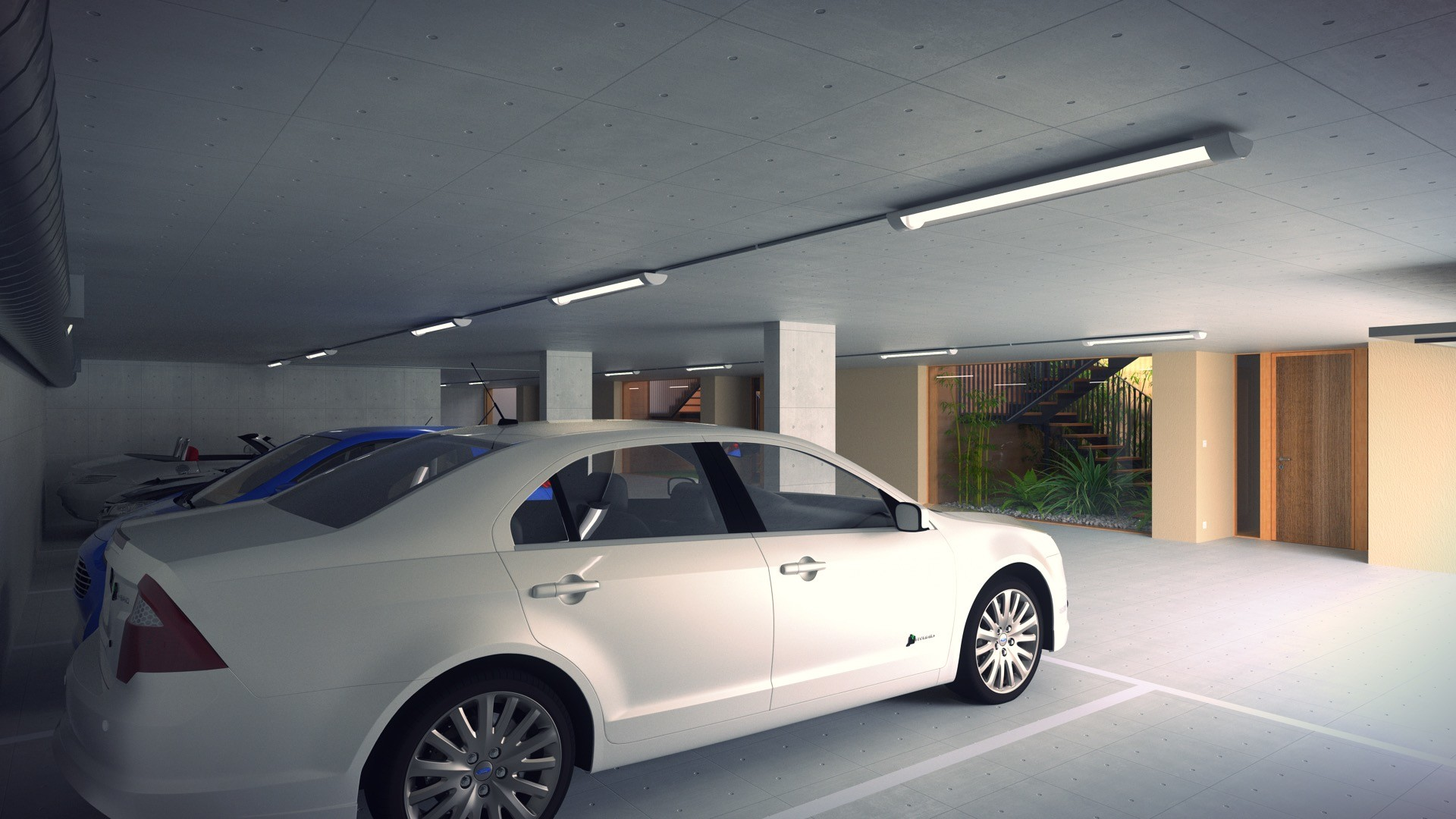 Duane kemp 22 a1309 villas portier 3d staircase garage garage se corner 02 open post