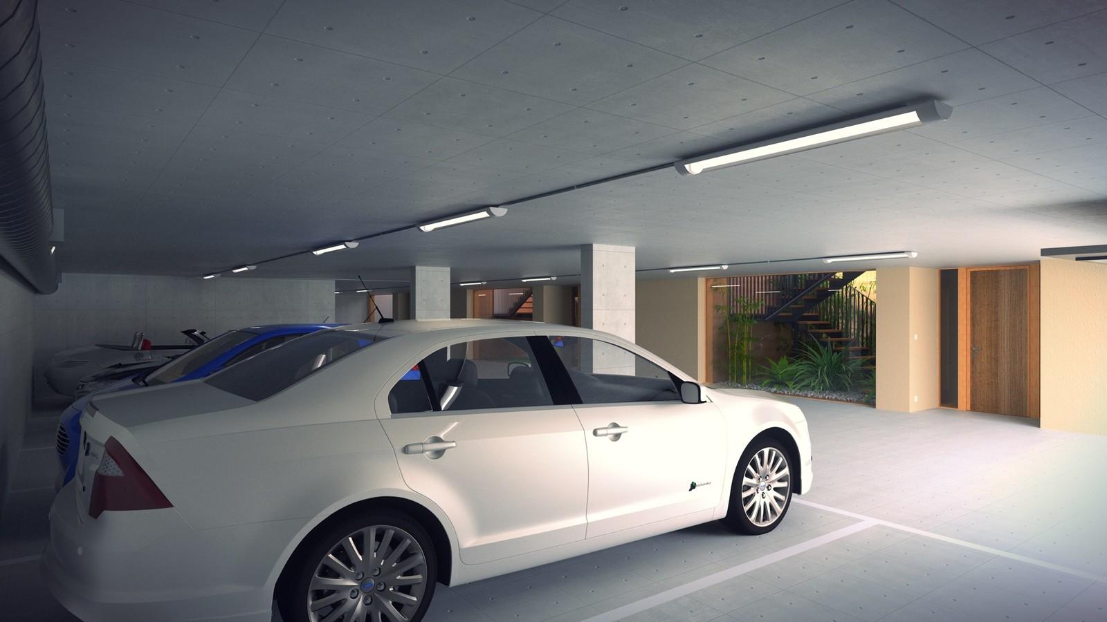 22 A1309-Villas Portier 3d STAIRCASE-GARAGE-Garage SE Corner 02 Open Post  KP webpage of project: http://www.kemppro.com/KP_3D_communication_3_Villas_Veyrier.html