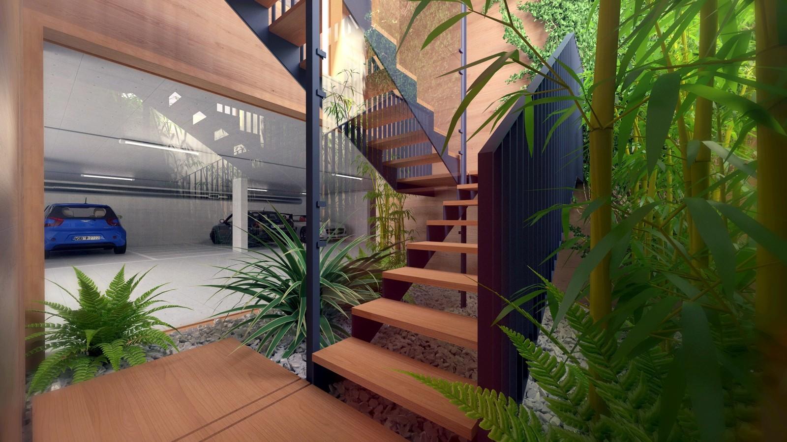 24 A1309-Villas Portier 3d STAIRCASE-GARAGE-Staircase Basement to Garage 02 Post  KP webpage of project: http://www.kemppro.com/KP_3D_communication_3_Villas_Veyrier.html