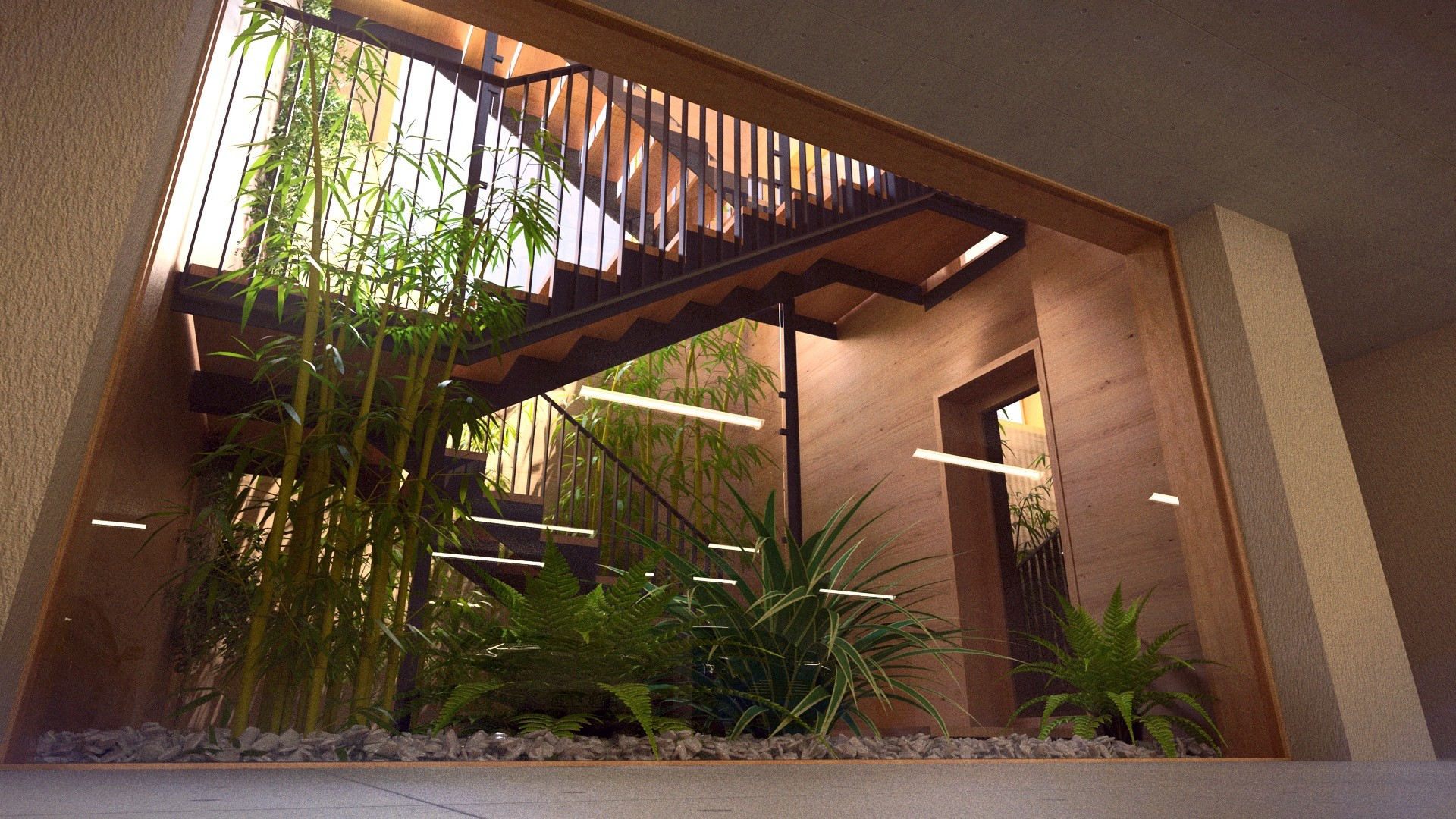 Duane kemp 26 a1309 villas portier 3d staircase garage garage bottom stairwell 02 c post