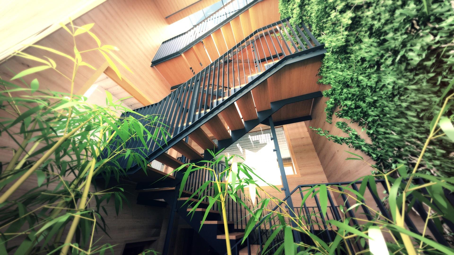Duane kemp 27 a1309 villas portier 3d staircase garage staircase 1rst floor 01 b post 02