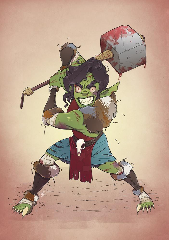 Piglet, the goblin barbarian