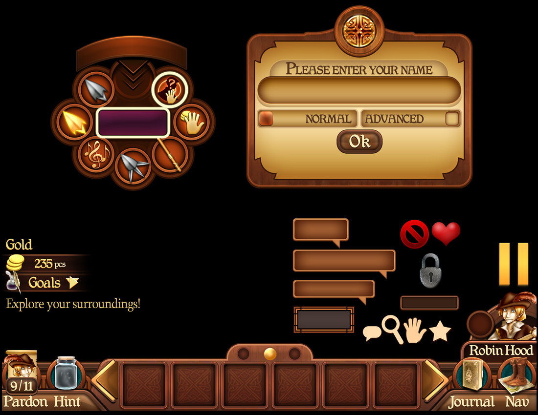Robins Quest for Ipad. A small sample of some ui work I did for each game.