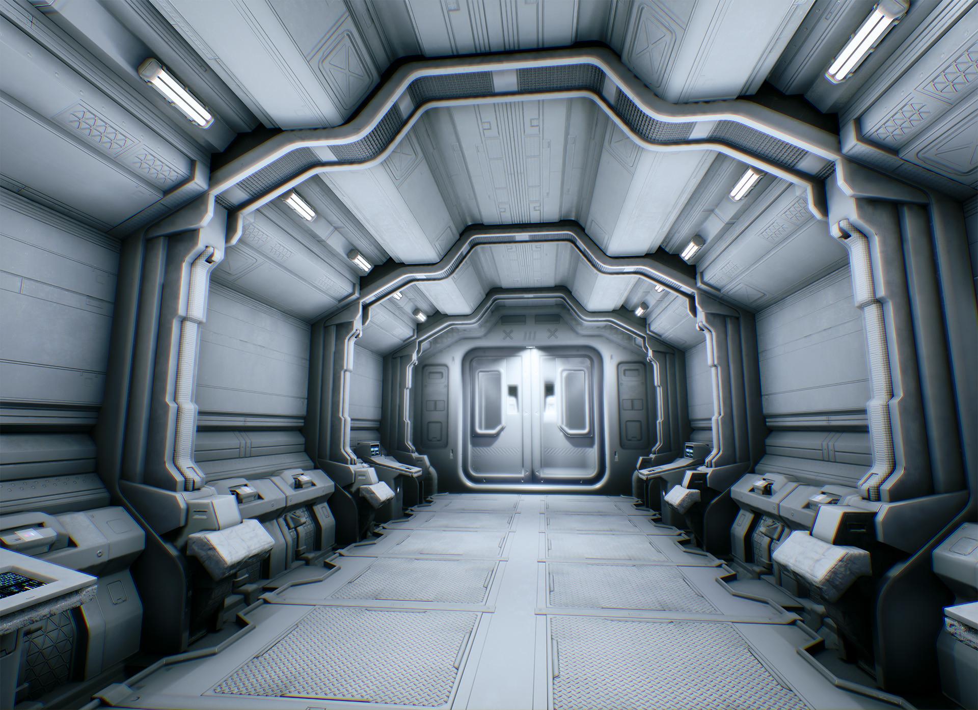 Chris arnold scifi corridor grey