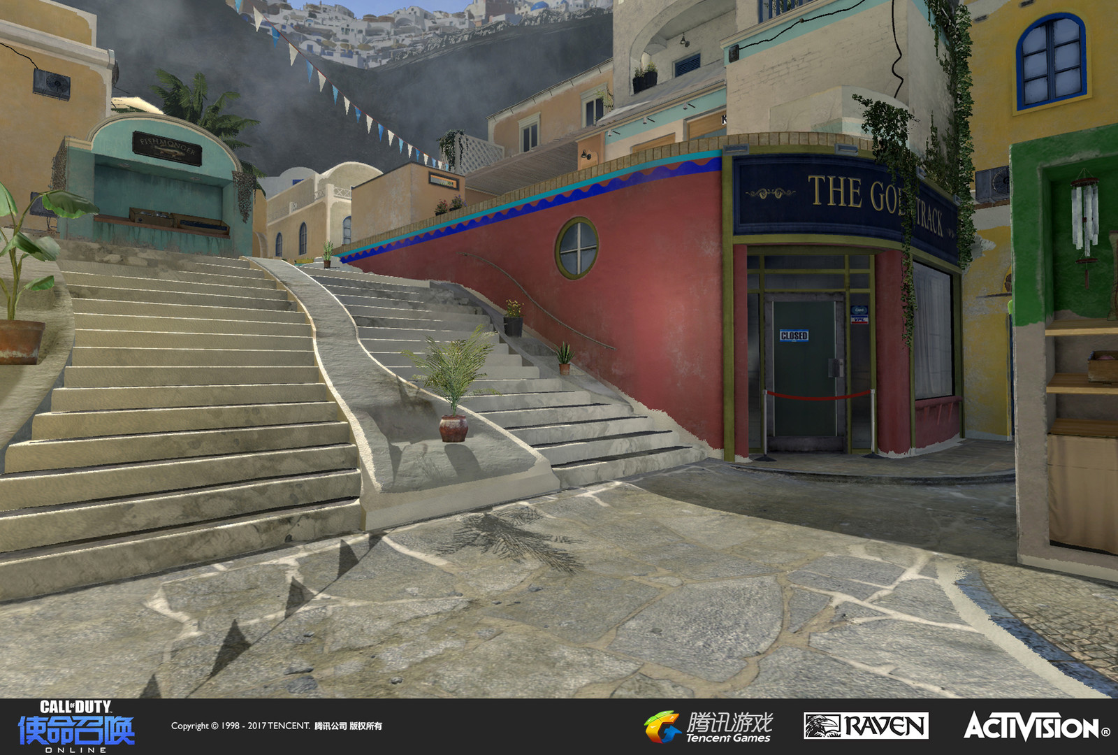 View from the lower courtyard of the square showcasing terrain and a storefront that I worked on.The market stall atop the stairs was created by Raquel Garcia.