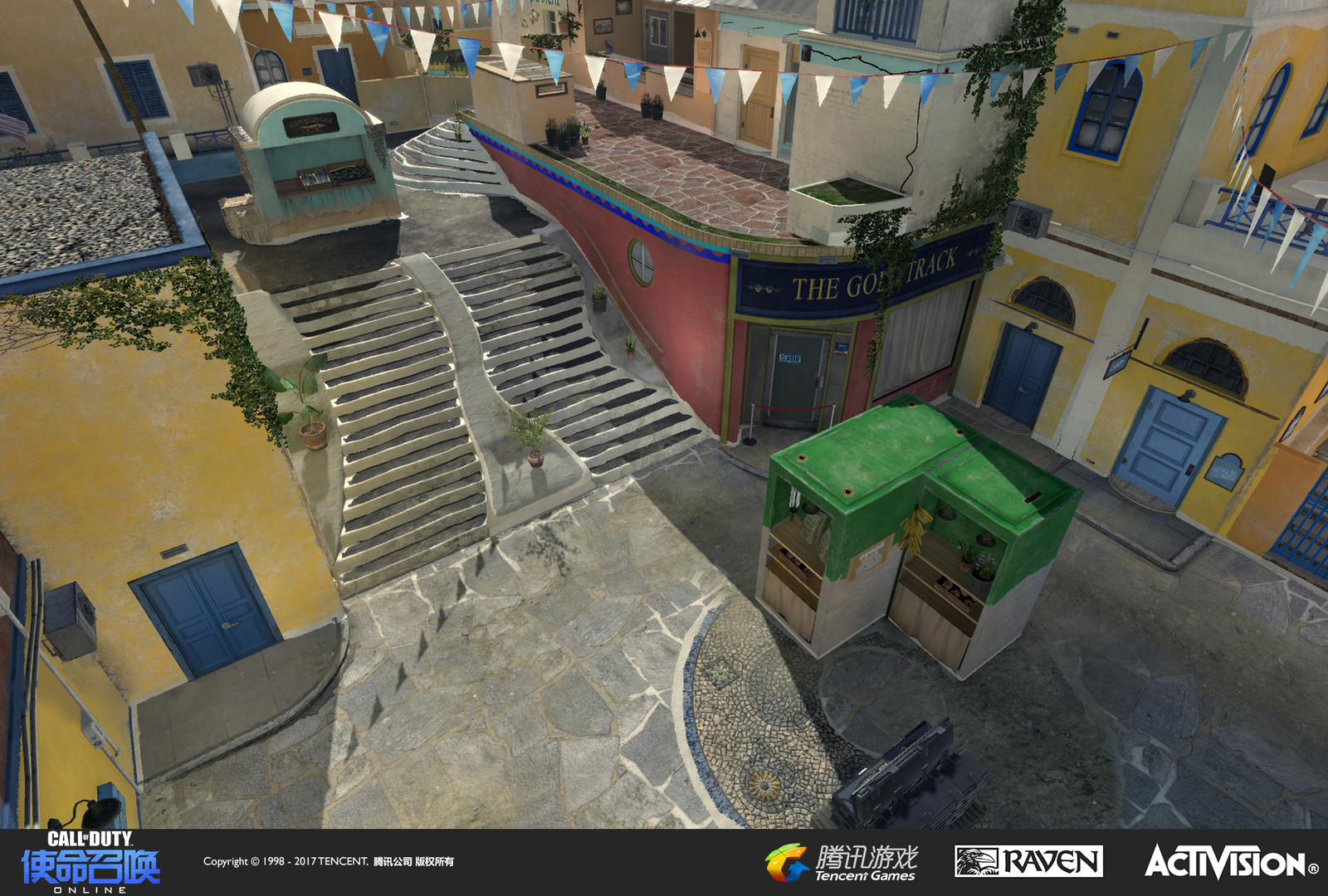 "I worked on the courtyard terrain  (upper and lower) with geo and material creation. I also created the ""Gold Track"" storefront. Other storefronts in this view were created by Raquel Garcia."