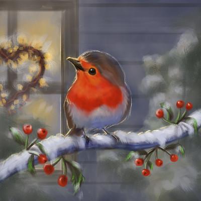 Okan bulbul robin christmas card sketch 01