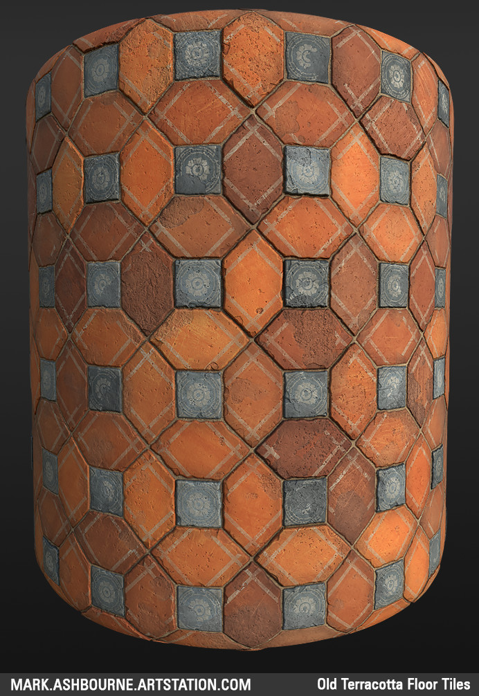 ArtStation - Old Terracotta Floor Tiles, Mark Ashbourne