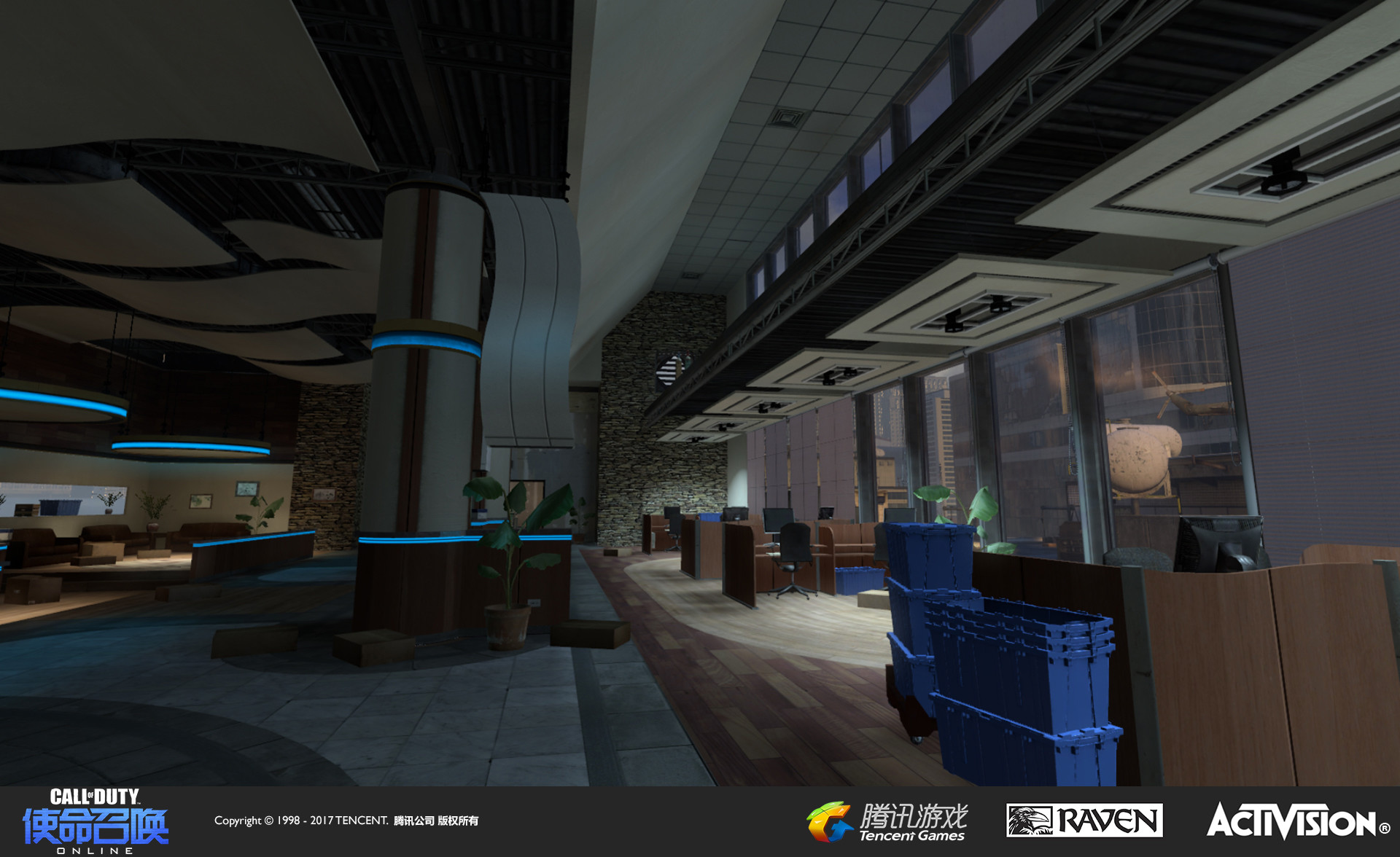 Interior of re-created building cafe. I was responsible for re-theming,  models (the blue plastic moving totes seen here), textures, and geo modification.
