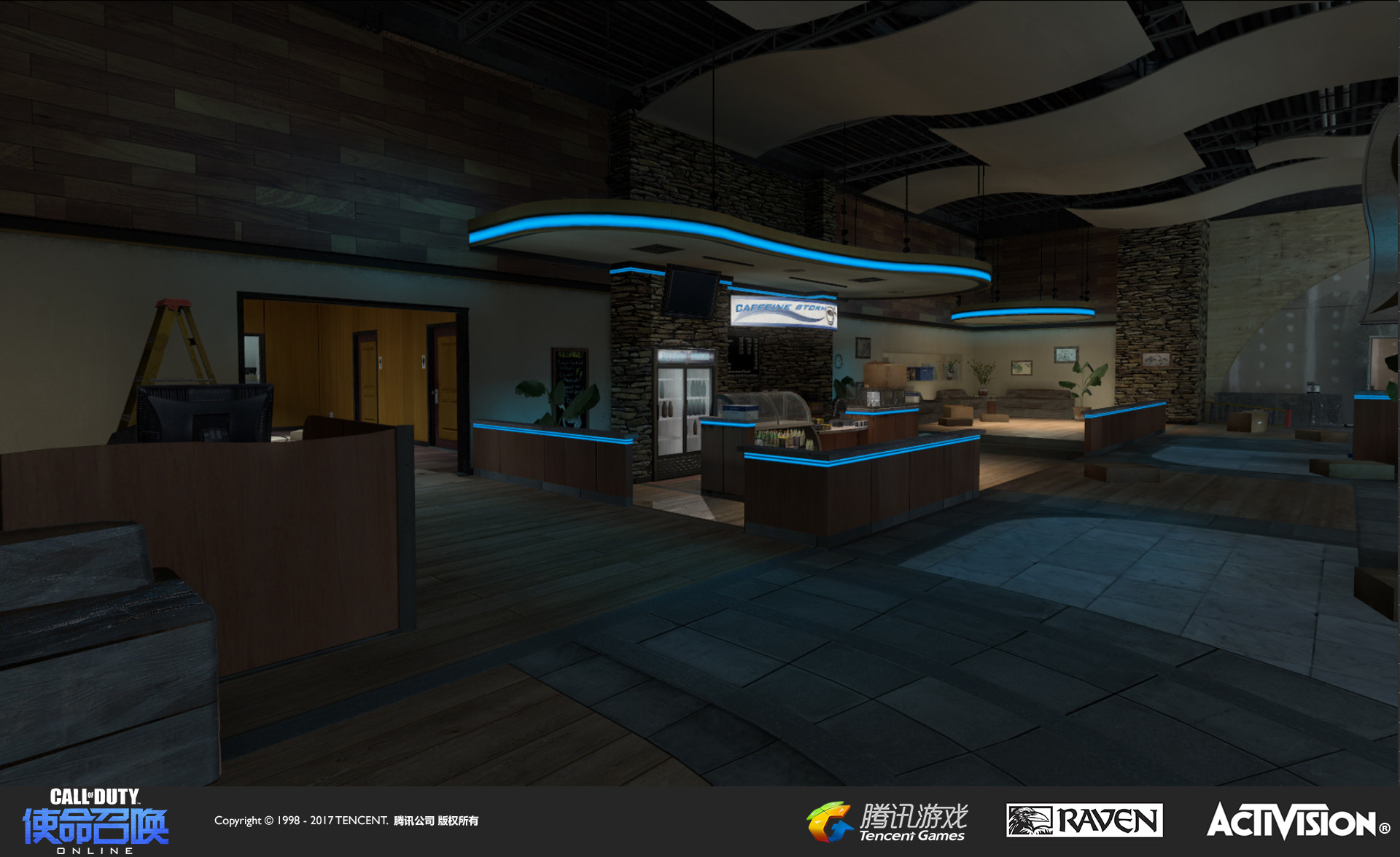The main interior space where most of the combat takes place. I designed the re-themed look, created the new coffee shop branding and signage, added ceiling decorative models, reworked the geo, and added illuminated strips.