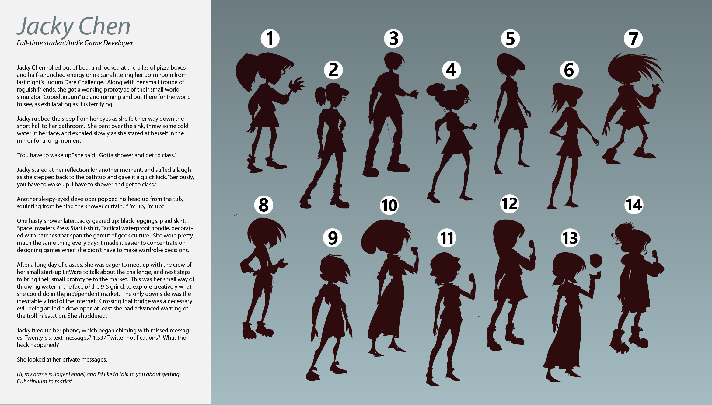 Character write up and silhouette explorations for Indie Game Developer