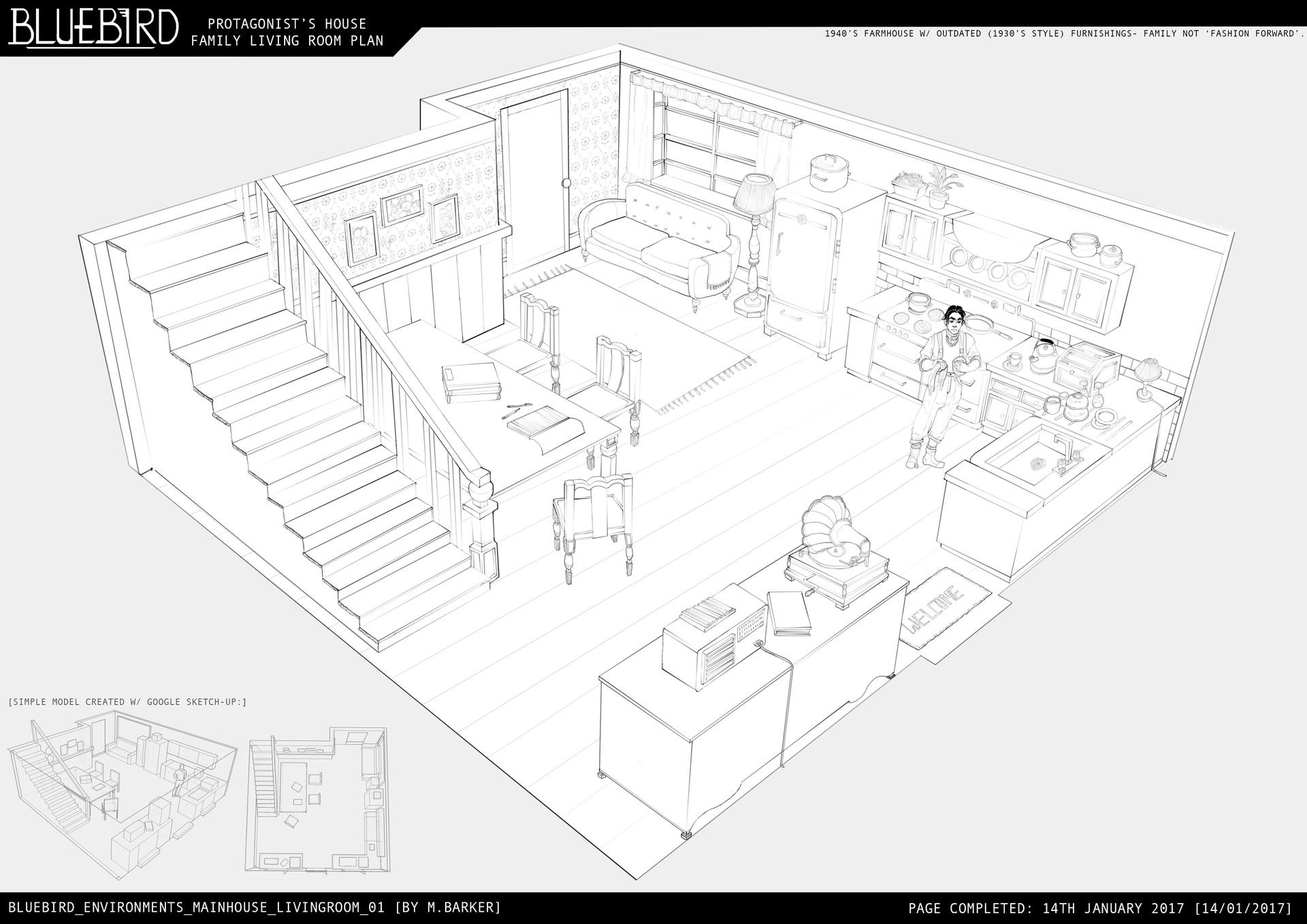 ArtStation - The 1940\'s Family Living Room [Set Design], Madeleine ...