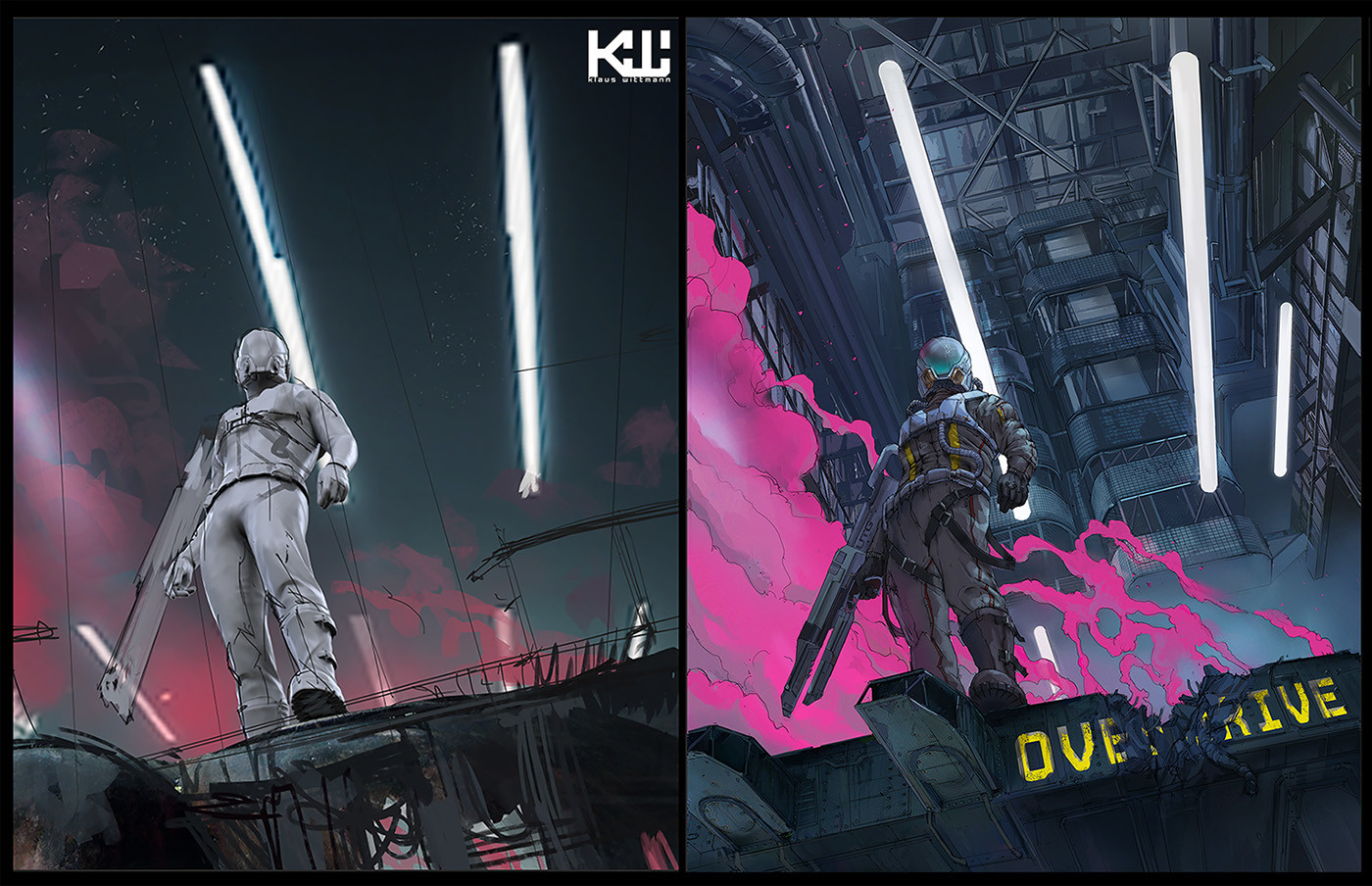 first sketch vs final version